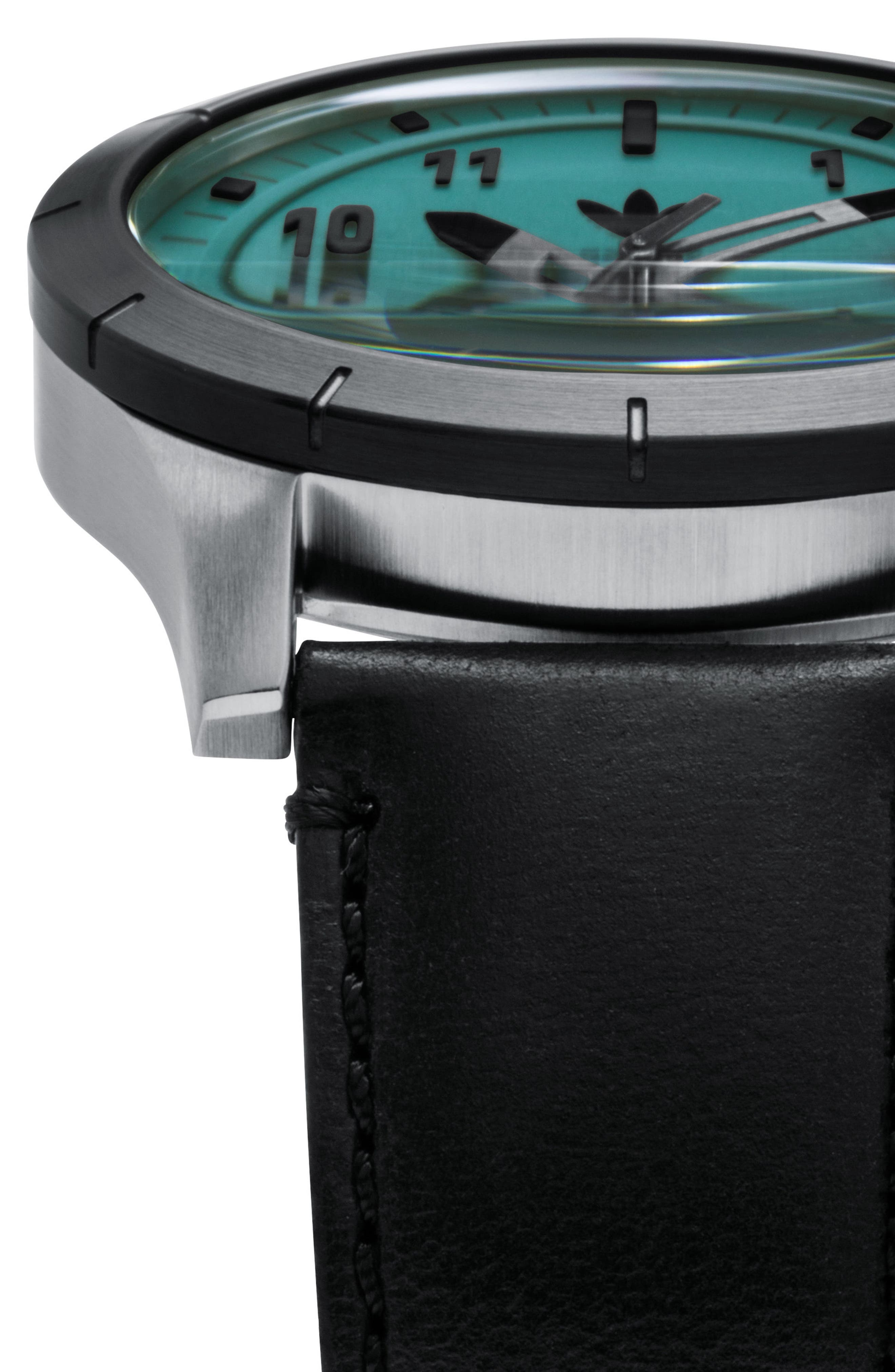 ADIDAS, Cypher Leather Strap Watch, 42mm, Alternate thumbnail 5, color, SILVER/ BLACK/ GREEN