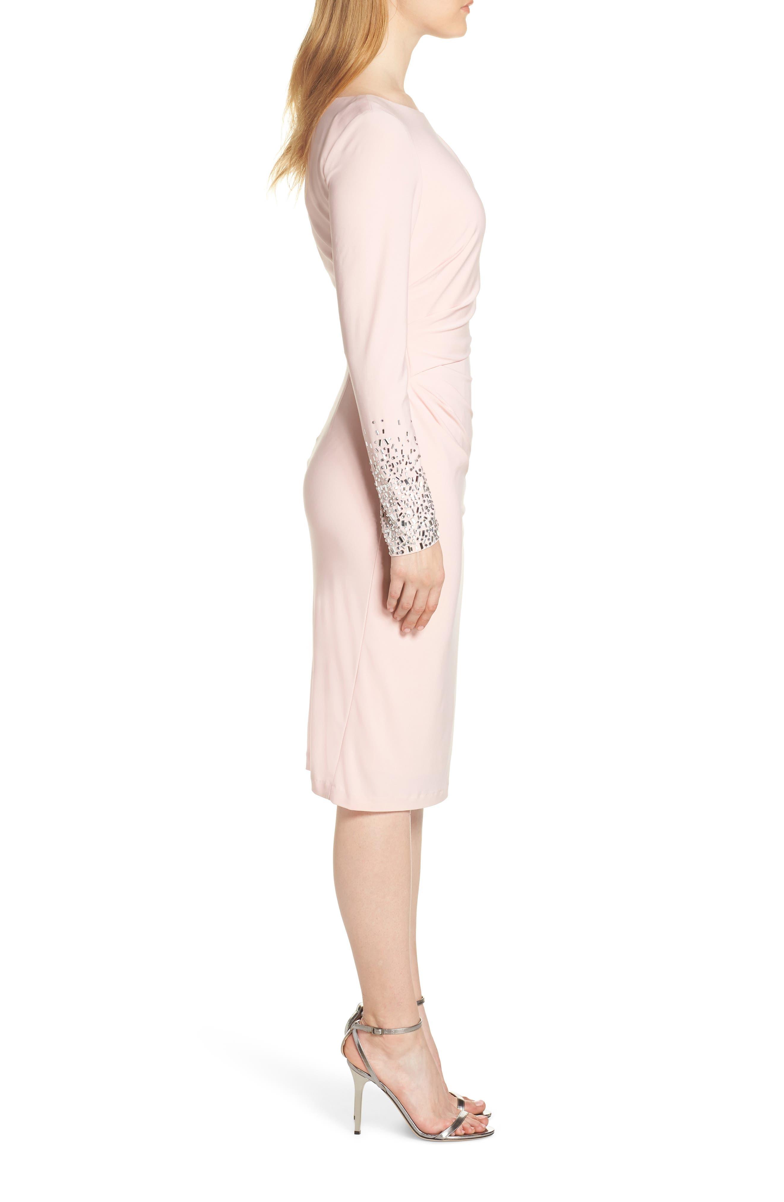 VINCE CAMUTO, Long Sleeve Bateau Neck Cocktail Dress, Alternate thumbnail 4, color, BLUSH