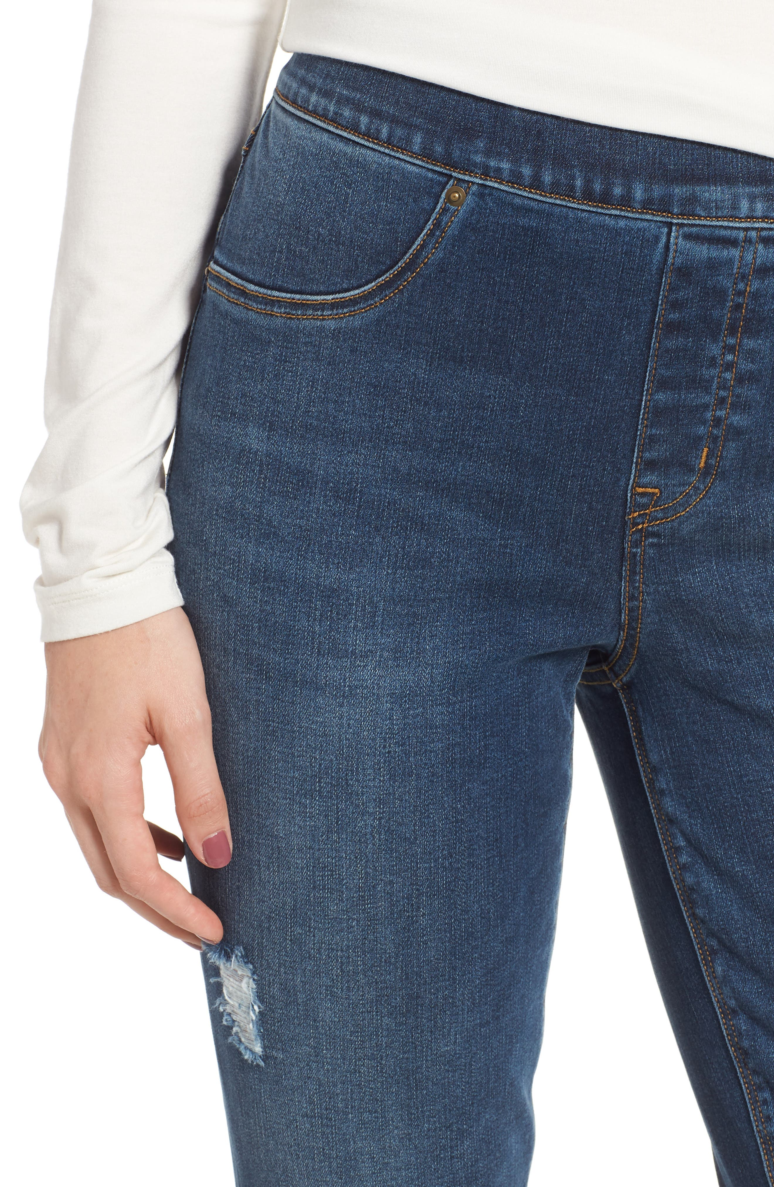 SPANX<SUP>®</SUP>, Distressed Skinny Jeans, Alternate thumbnail 5, color, MEDIUM WASH