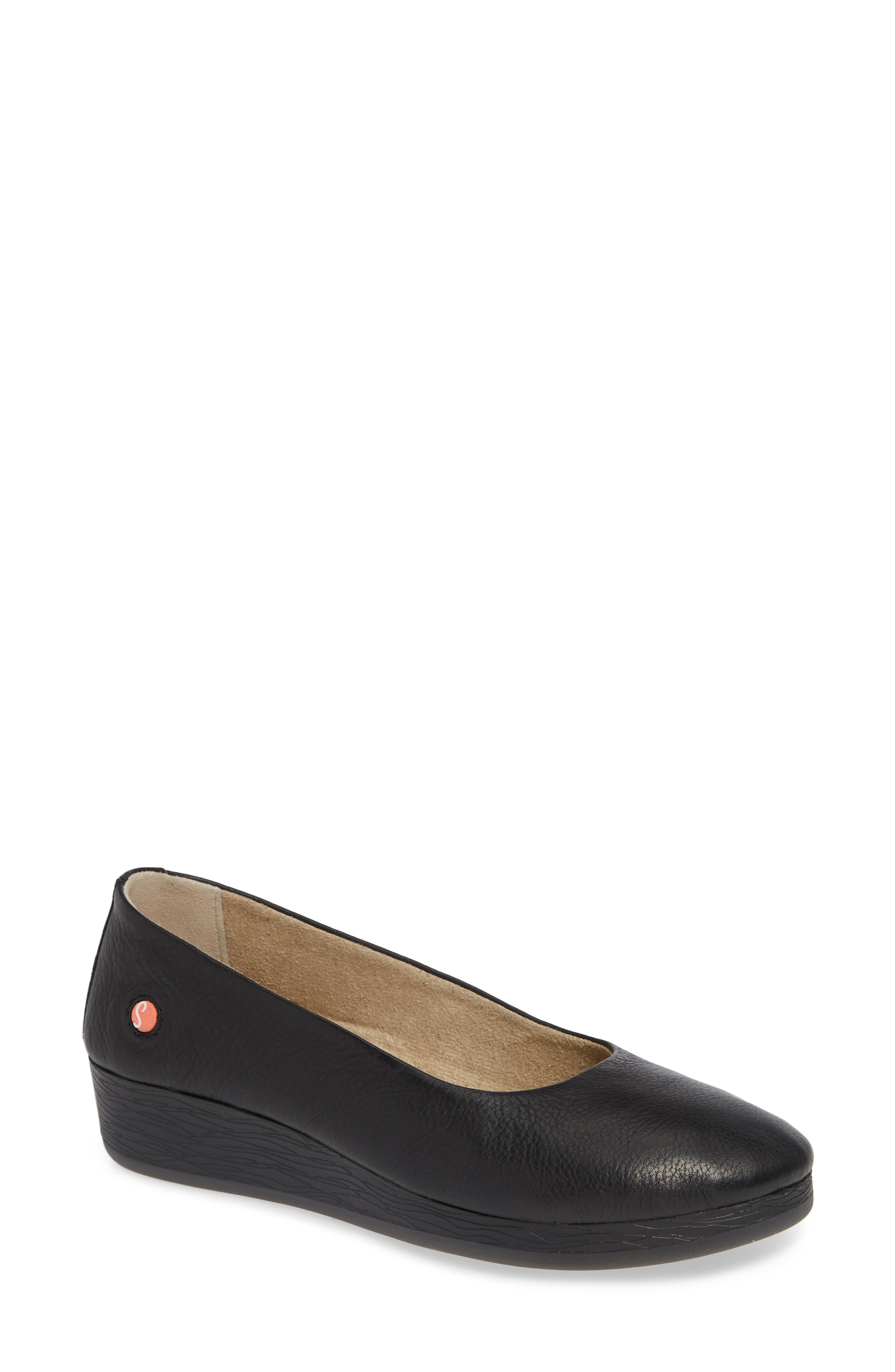 SOFTINOS BY FLY LONDON, Asa Soft Flat, Main thumbnail 1, color, BLACK SMOOTH LEATHER
