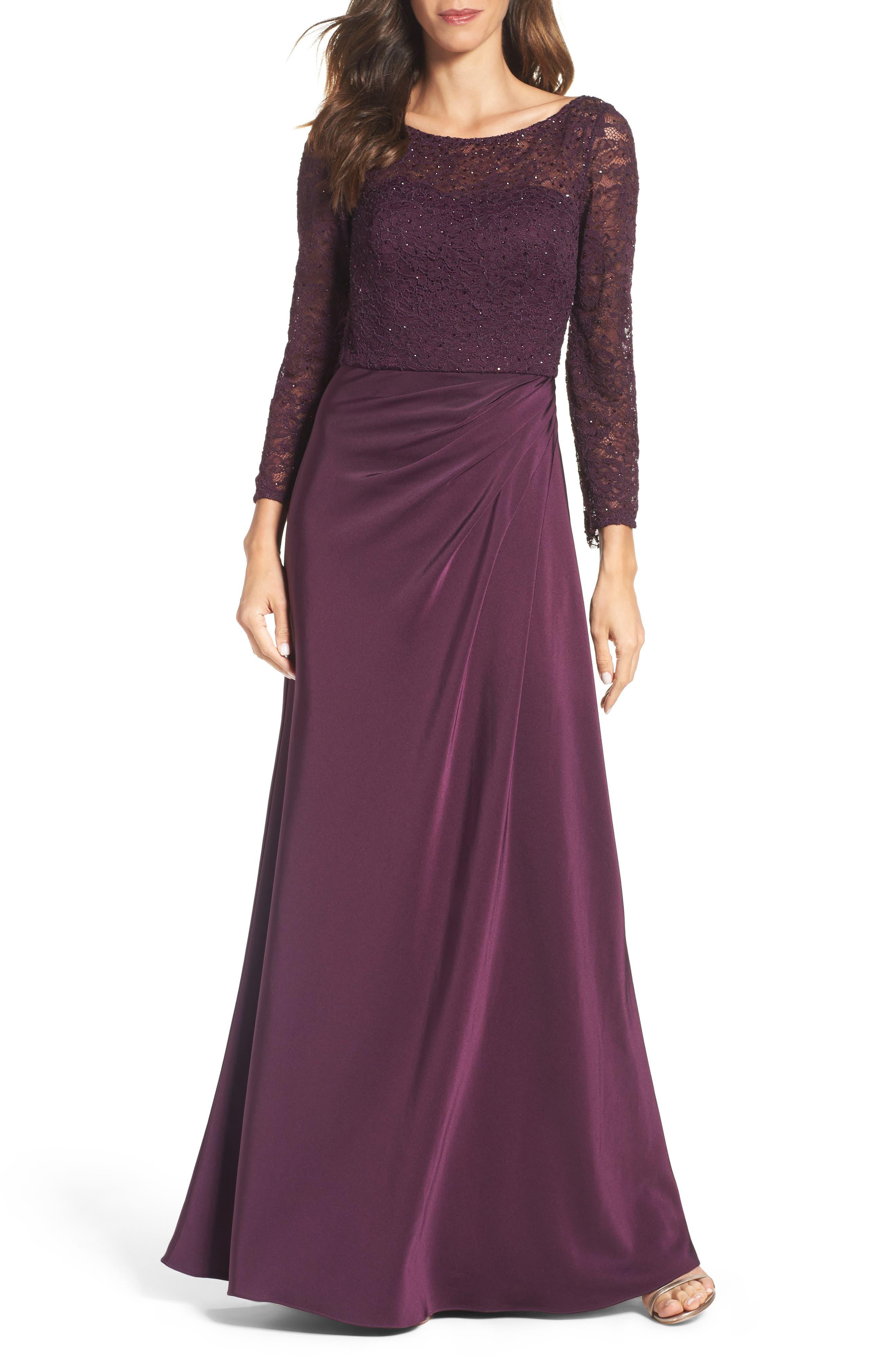 La Femme Embellished Gown, Purple