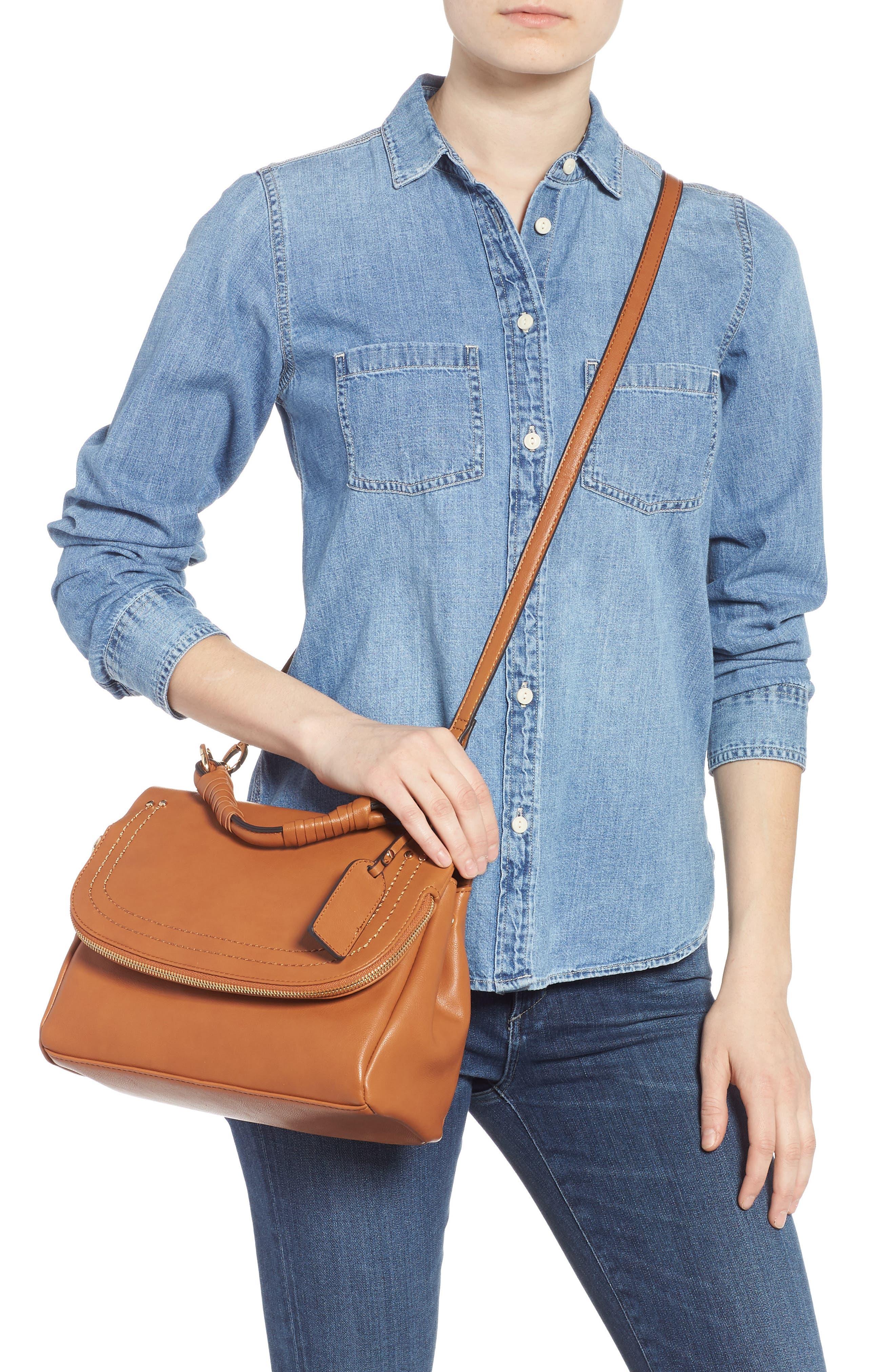 SOLE SOCIETY, Rubie Faux Leather Crossbody Bag, Alternate thumbnail 2, color, COGNAC