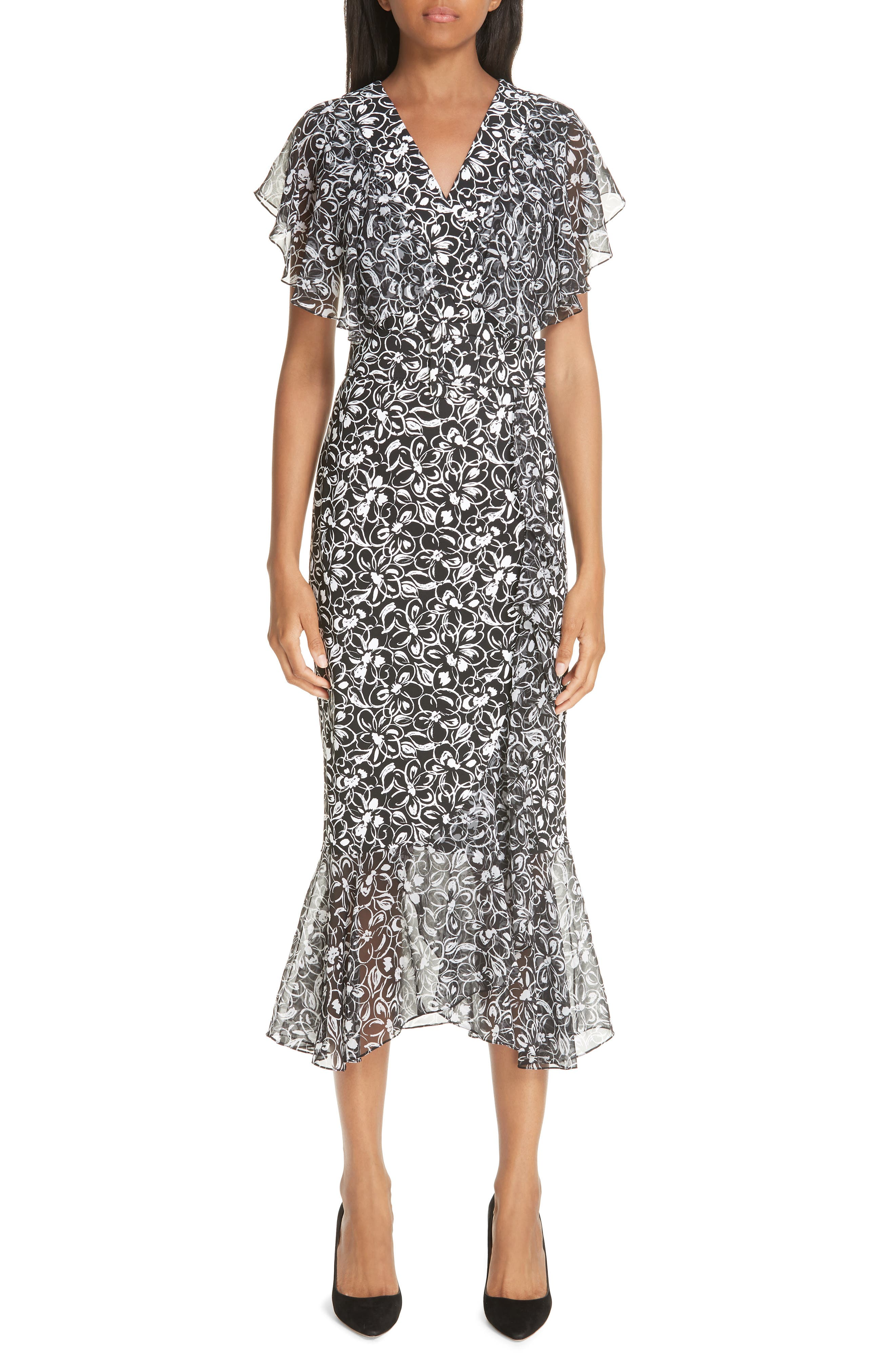 Michael Kors Painterly Floral Belted Ruffle Trim Dress, Black