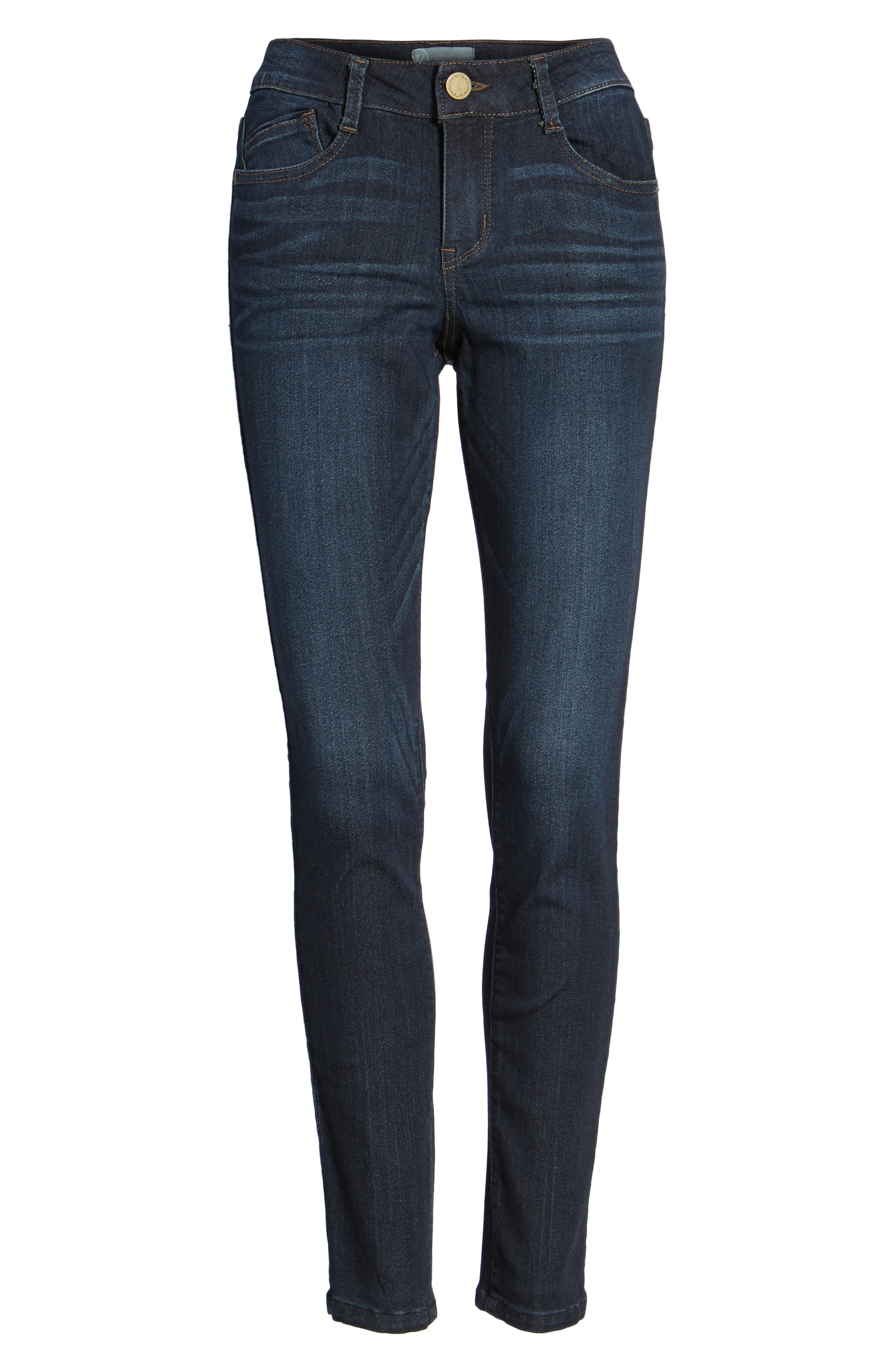 WIT & WISDOM, Super Smooth Stretch Denim Skinny Jeans, Alternate thumbnail 5, color, DARK NAVY