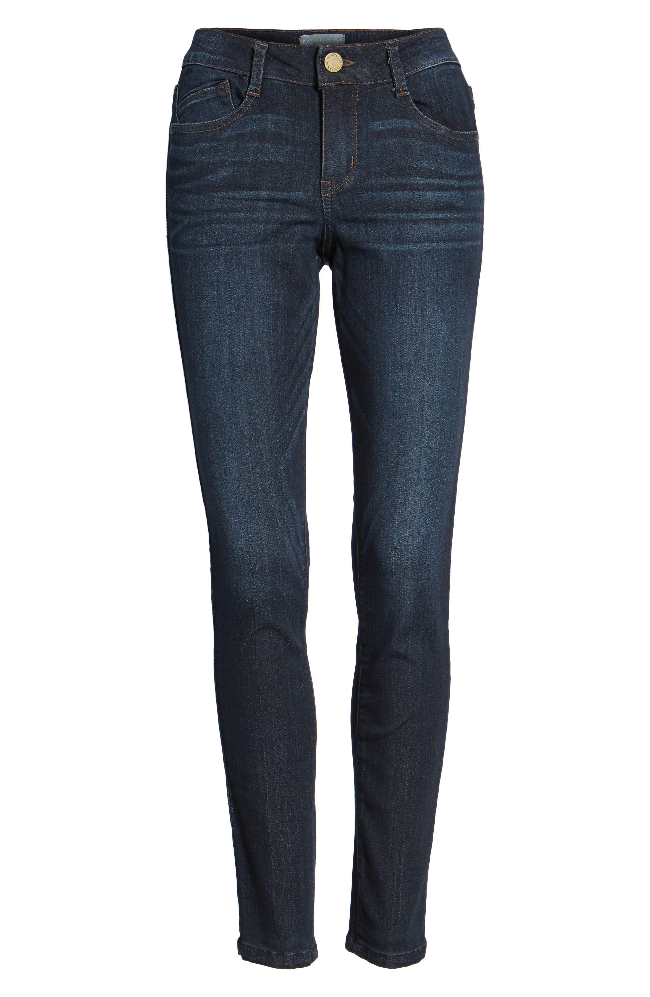 WIT & WISDOM, Super Smooth Stretch Denim Skinny Jeans, Alternate thumbnail 5, color, DARK NAVY