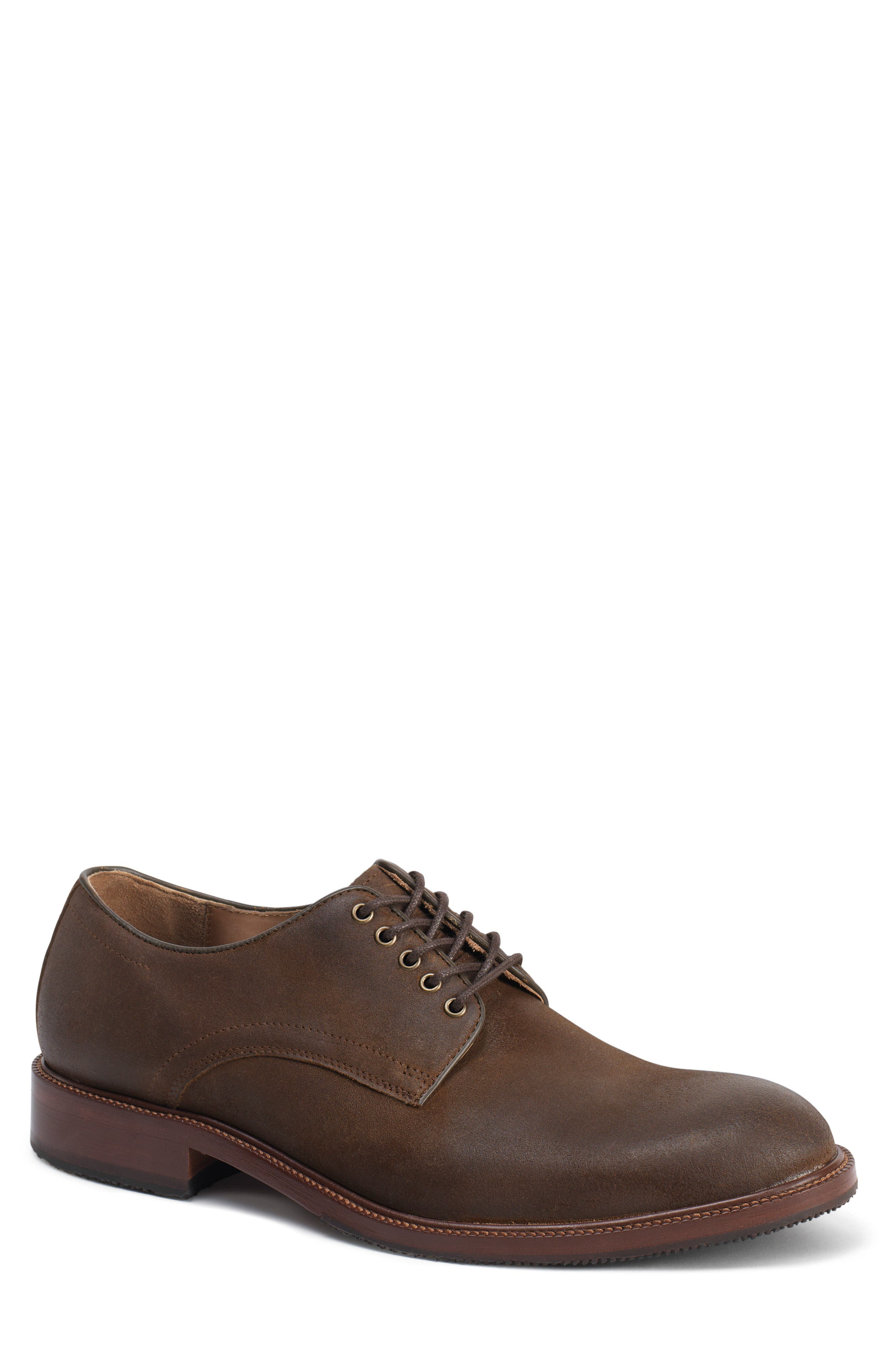 TRASK, Landry Plain Toe Derby, Main thumbnail 1, color, BROWN WAXED SUEDE