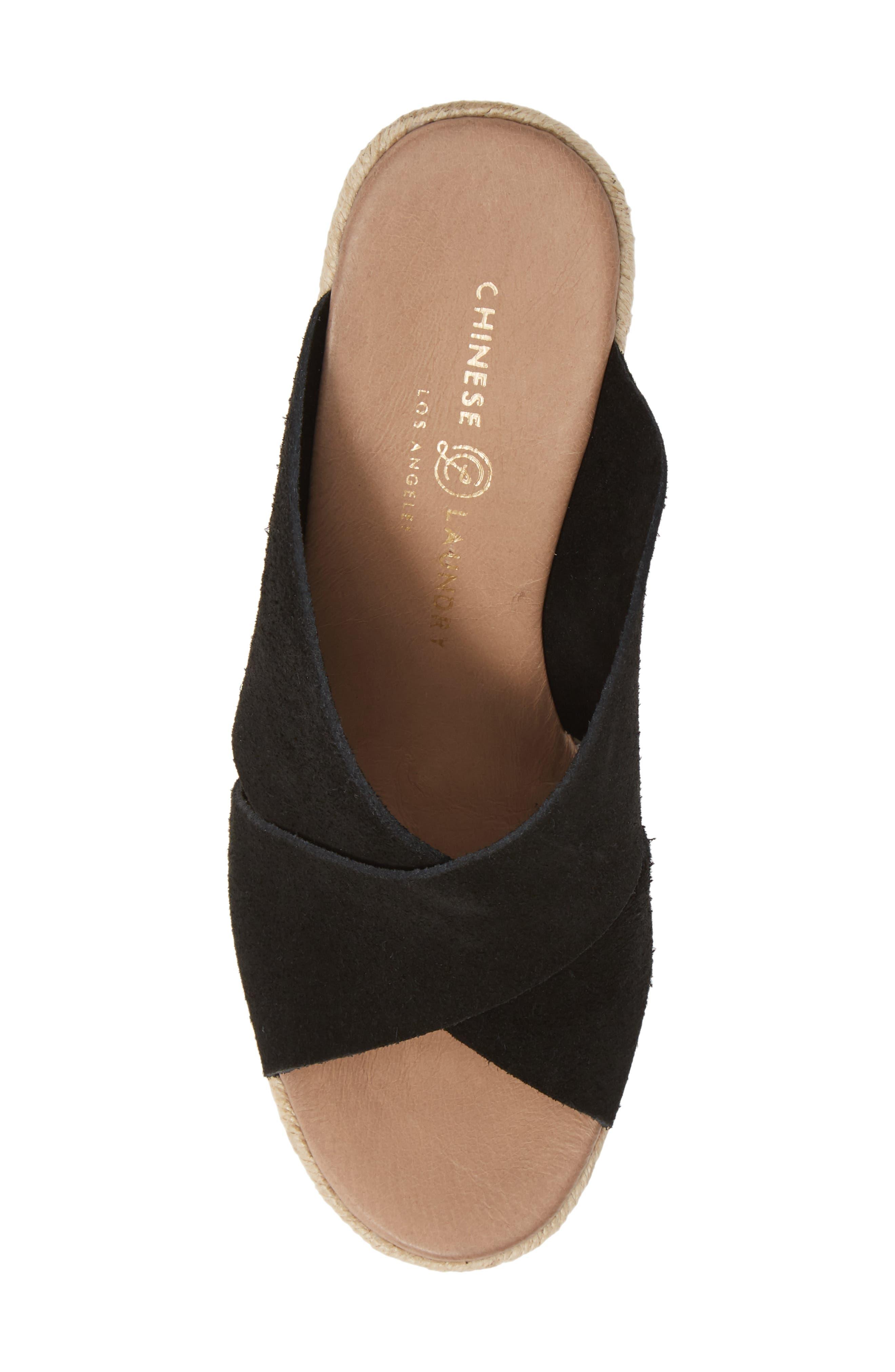 CHINESE LAUNDRY, Quay Platform Sandal, Alternate thumbnail 5, color, BLACK SUEDE
