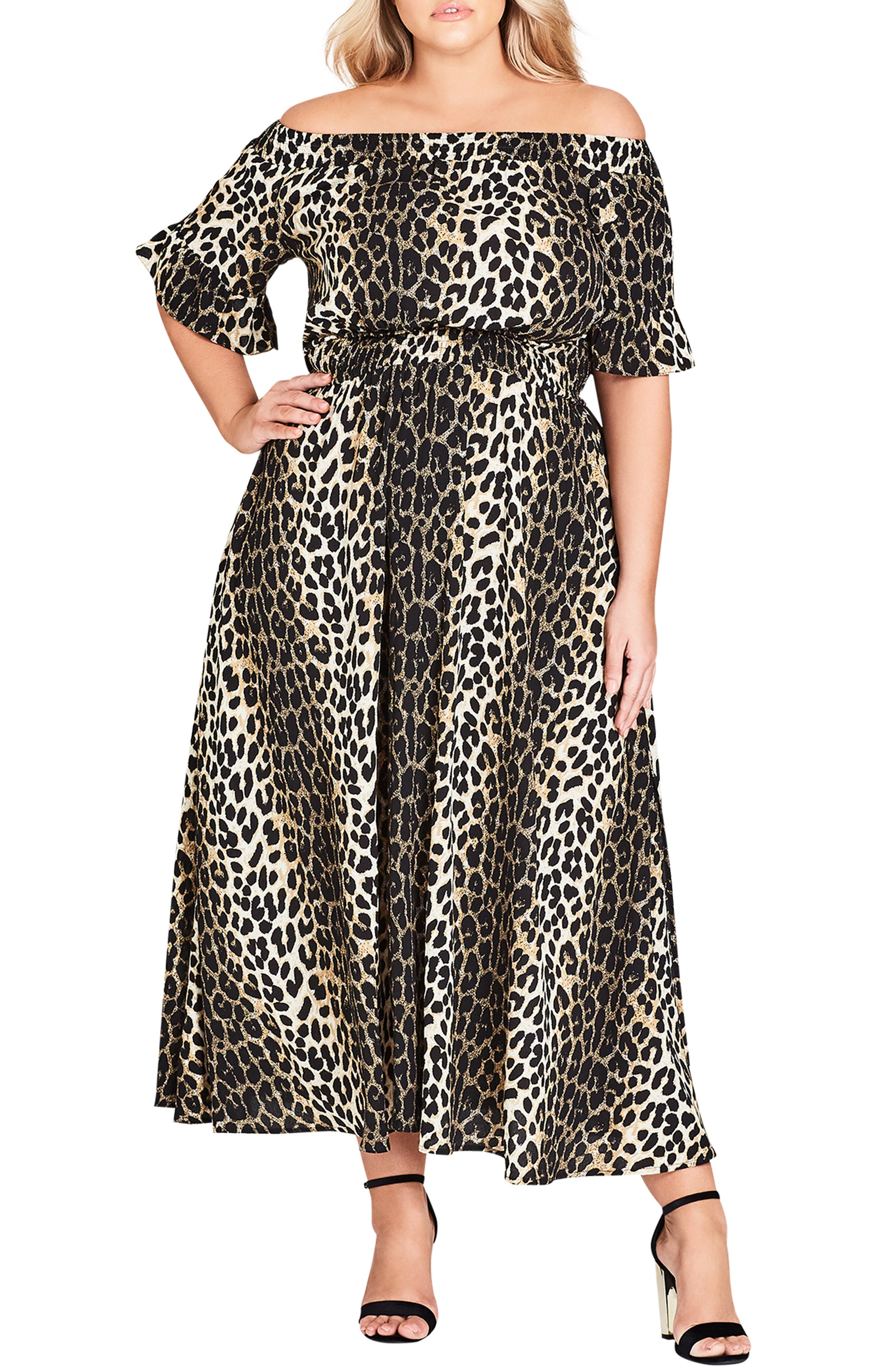 CITY CHIC, Animal Essence Maxi Dress, Main thumbnail 1, color, 111