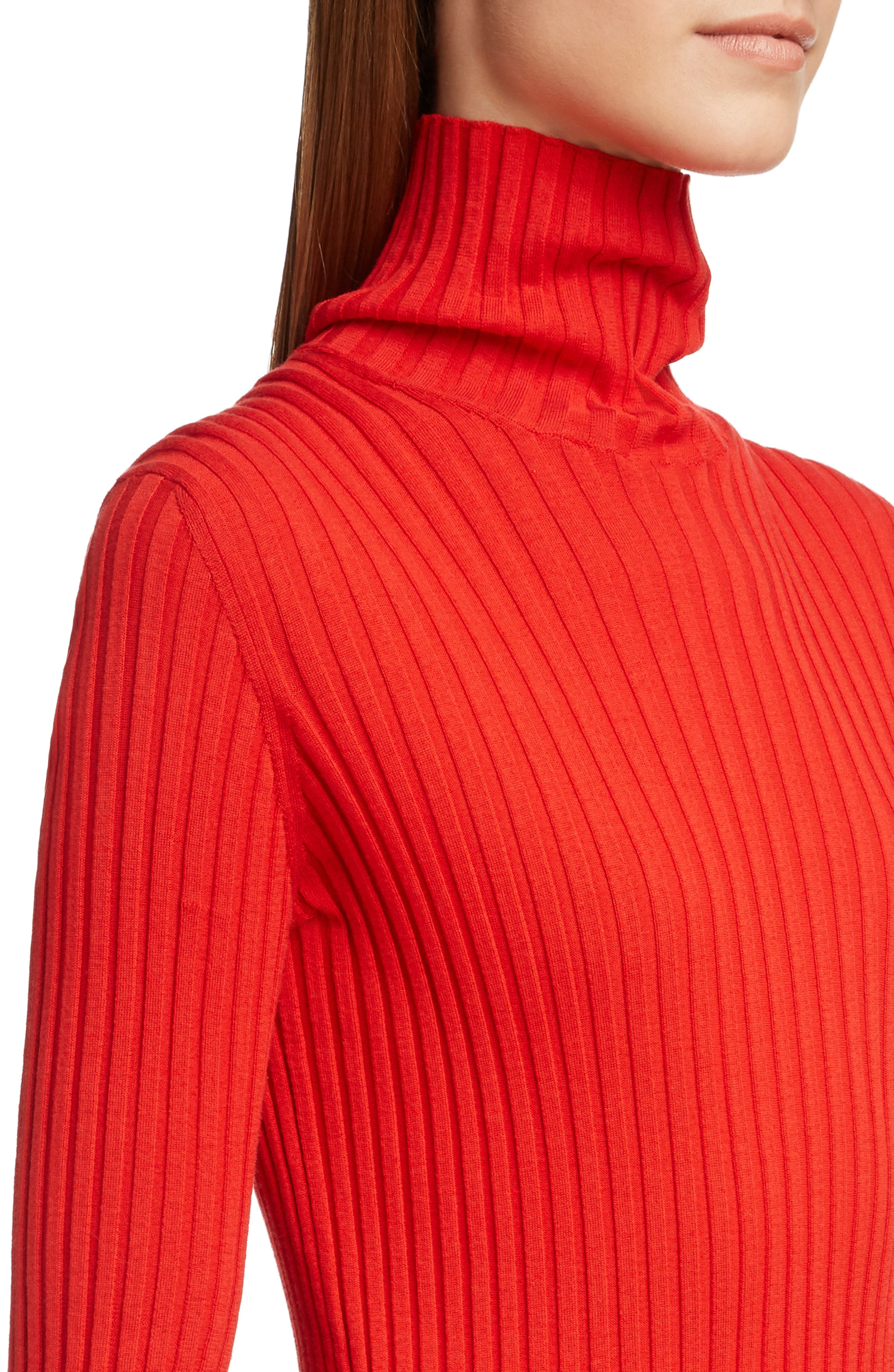 VICTORIA BECKHAM, Gathered Sleeve Rib Knit Turtleneck Sweater, Alternate thumbnail 4, color, BRIGHT RED