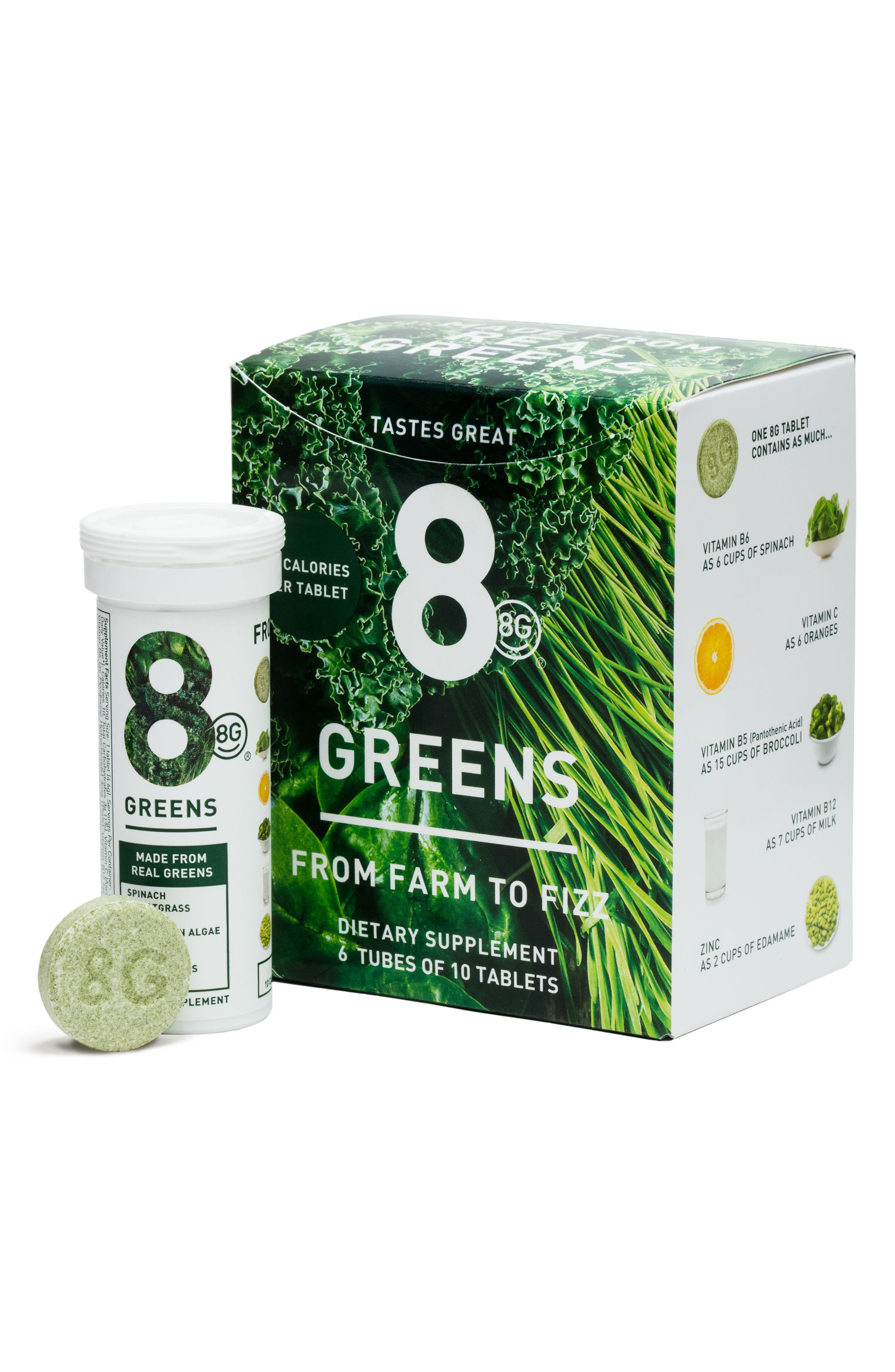 8G Greens 6-Pack Dietary Supplement, Main, color, NO COLOR