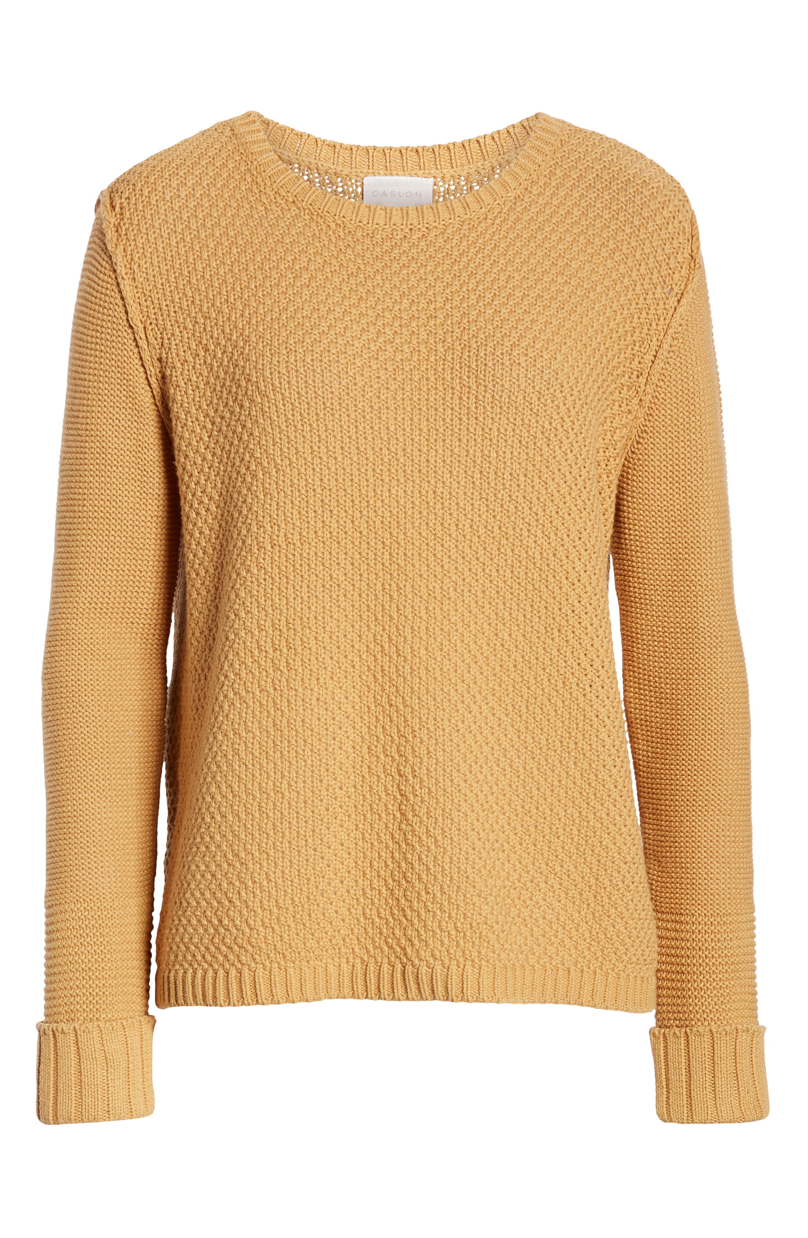CASLON<SUP>®</SUP>, Mixed Stitch Sweater, Alternate thumbnail 6, color, TAN CINNAMON