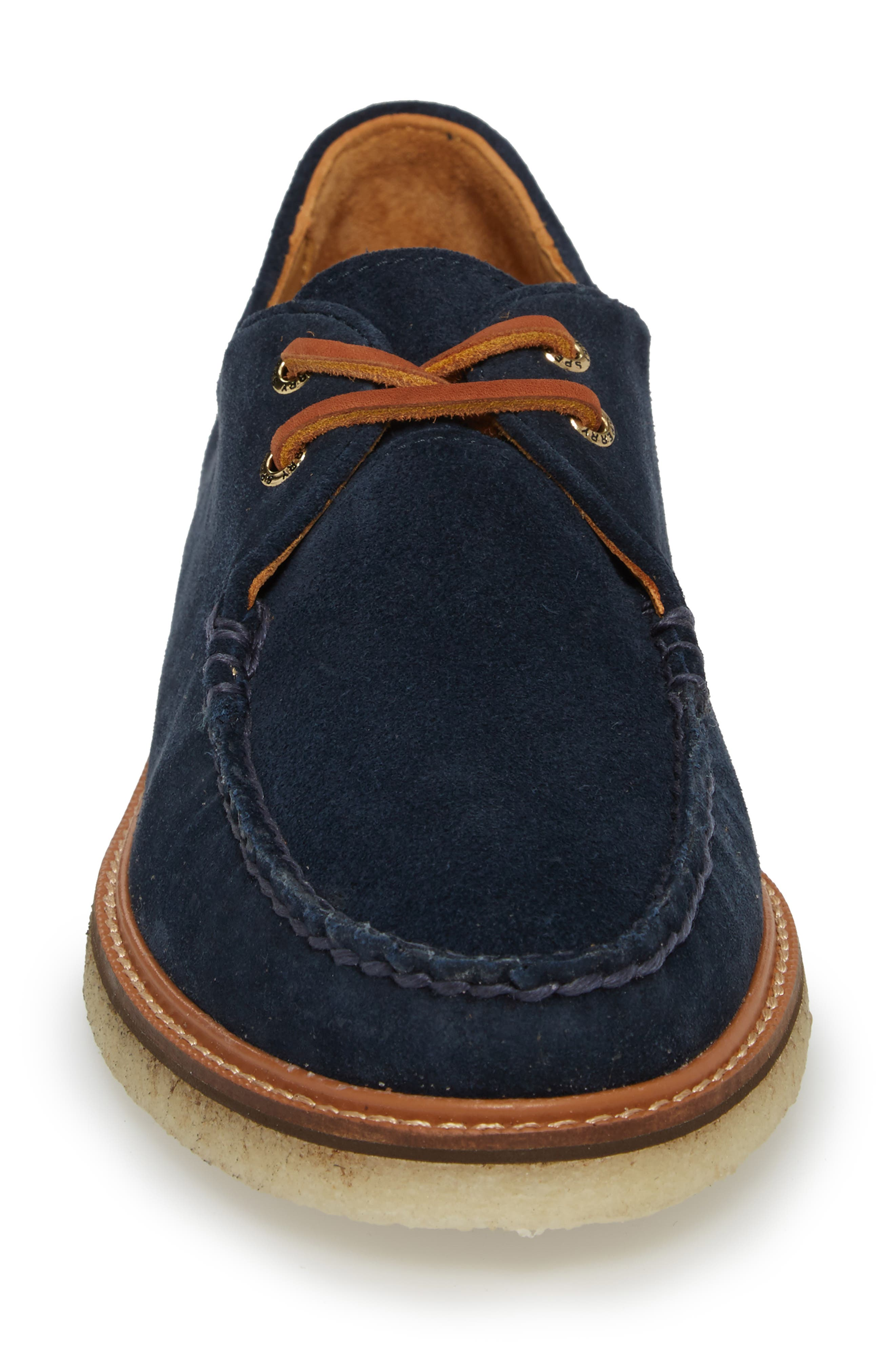 SPERRY, Gold Cup Captain's Crepe Sole Oxford, Alternate thumbnail 4, color, BLUE LEATHER/ SUEDE