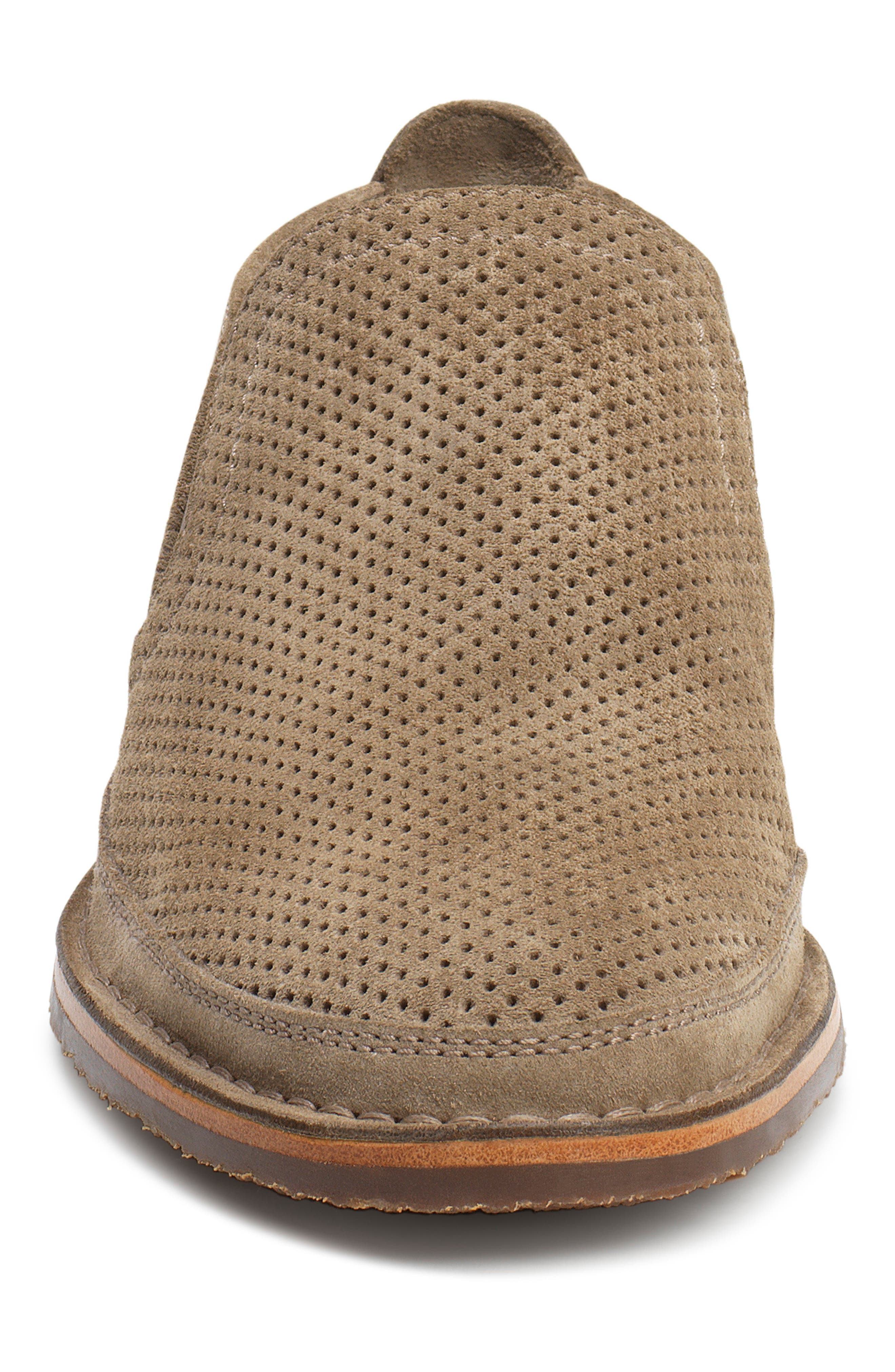 TRASK, Bradley Perforated Slip-On, Alternate thumbnail 4, color, TAUPE SUEDE