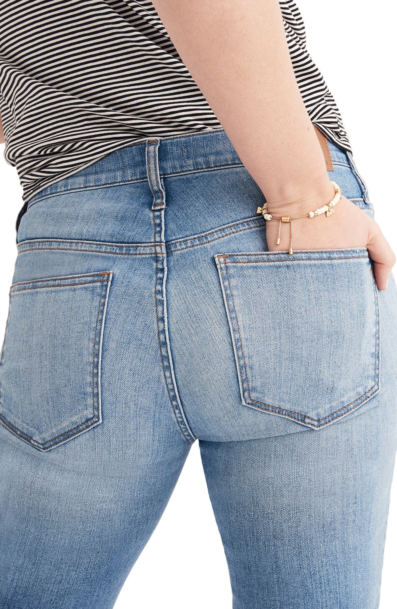 MADEWELL, 9-Inch High Waist Seamed Step-Hem Edition Skinny Jeans, Alternate thumbnail 3, color, 400