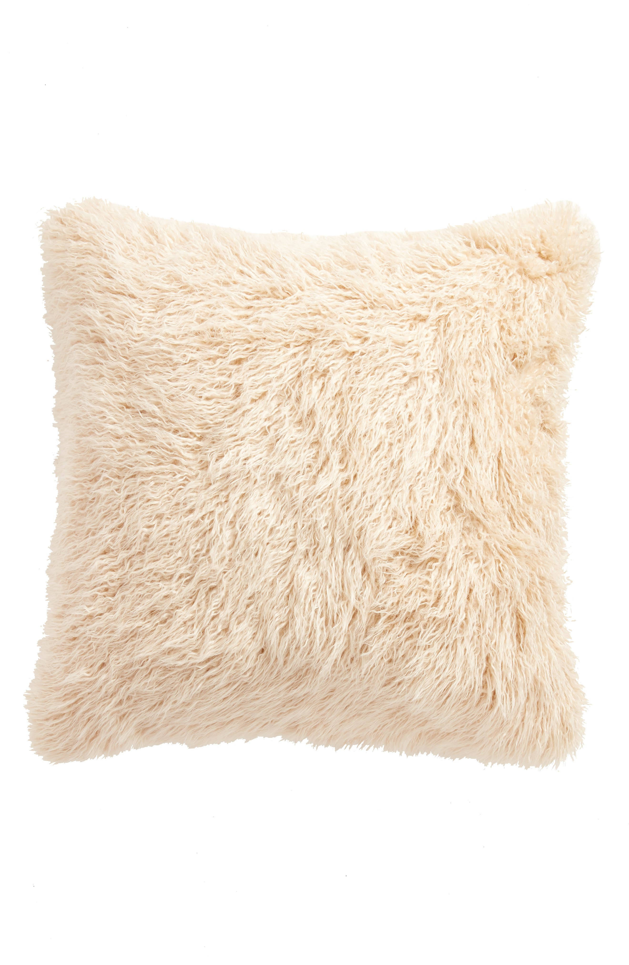TREASURE & BOND, Curly Faux Fur Pillow, Alternate thumbnail 2, color, BEIGE BEACH