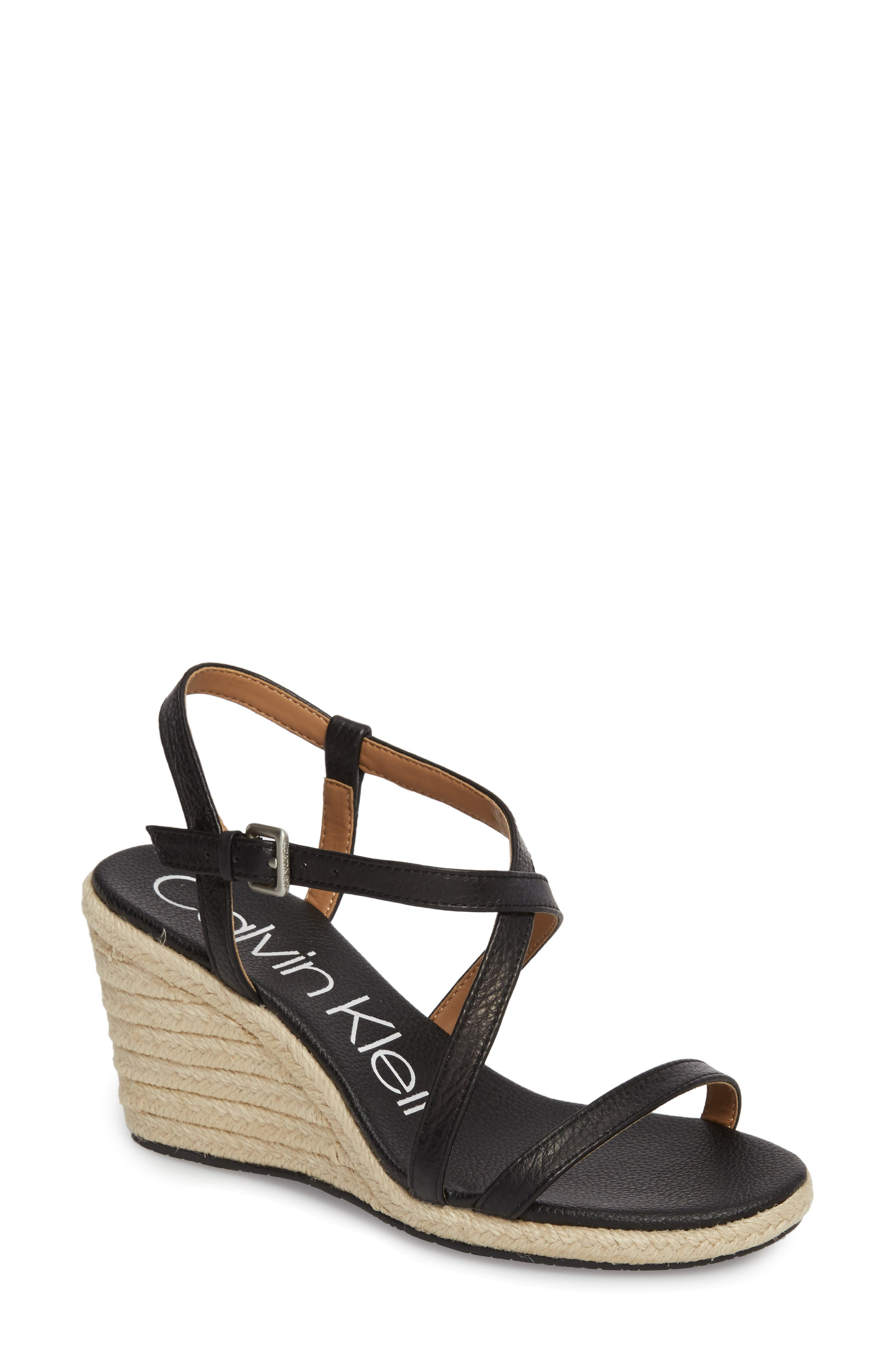 CALVIN KLEIN Bellemine Espadrille Wedge Sandal, Main, color, BLACK LEATHER