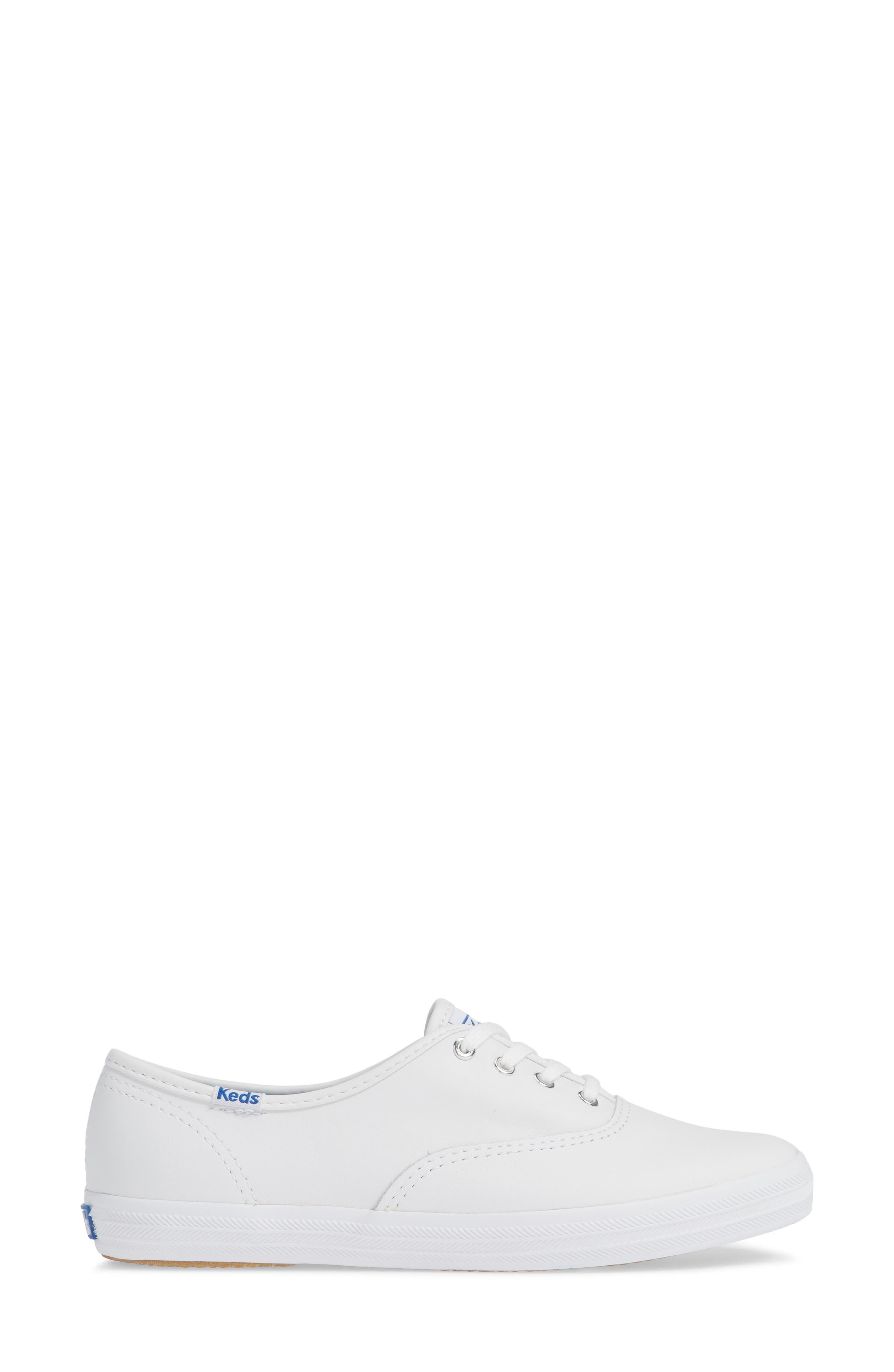 KEDS<SUP>®</SUP>, 'Champion  Leather' Sneaker, Alternate thumbnail 4, color, White