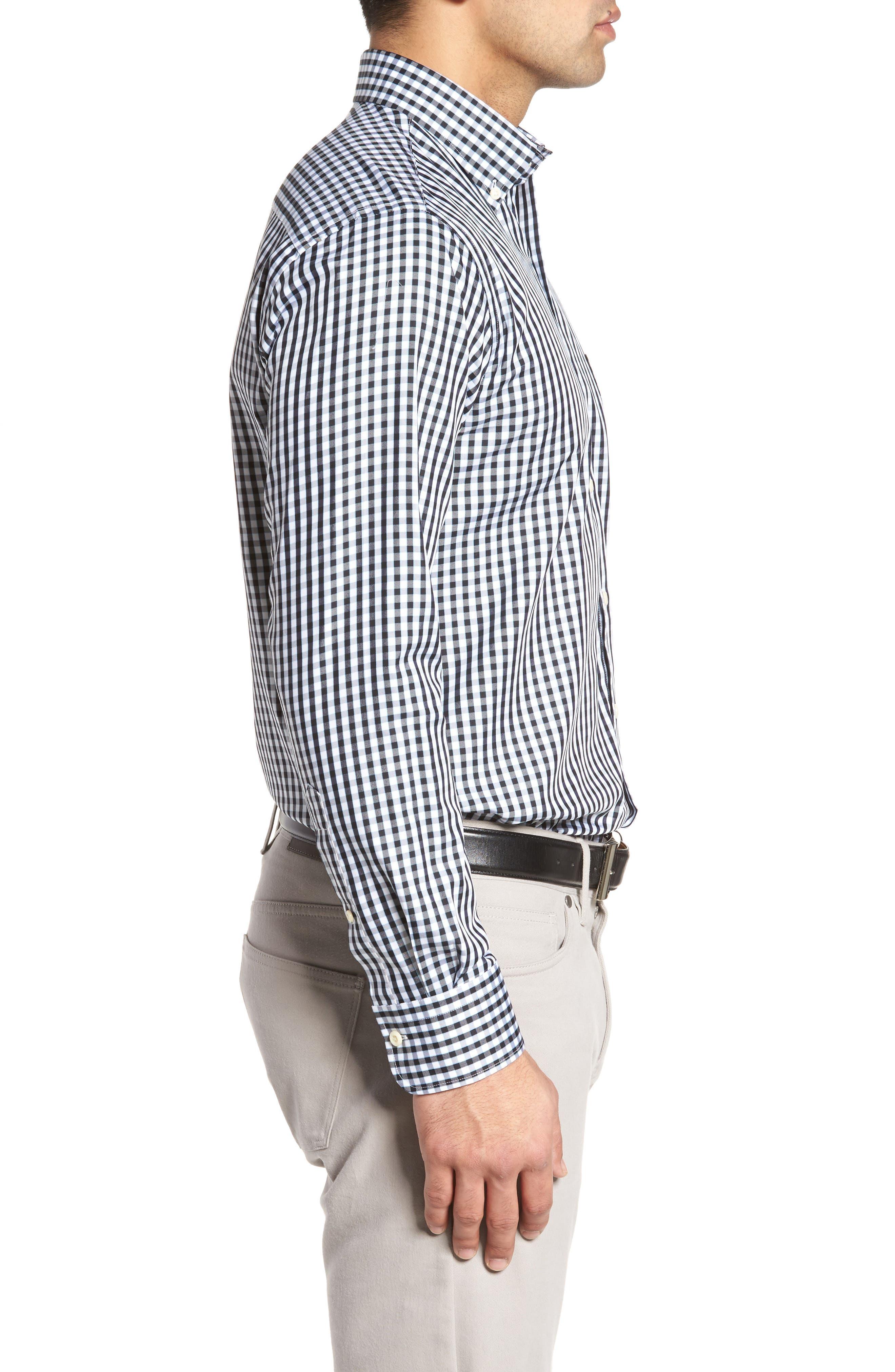 PETER MILLAR, Black Sand Regular Fit Gingham Check Sport Shirt, Alternate thumbnail 3, color, BLACK