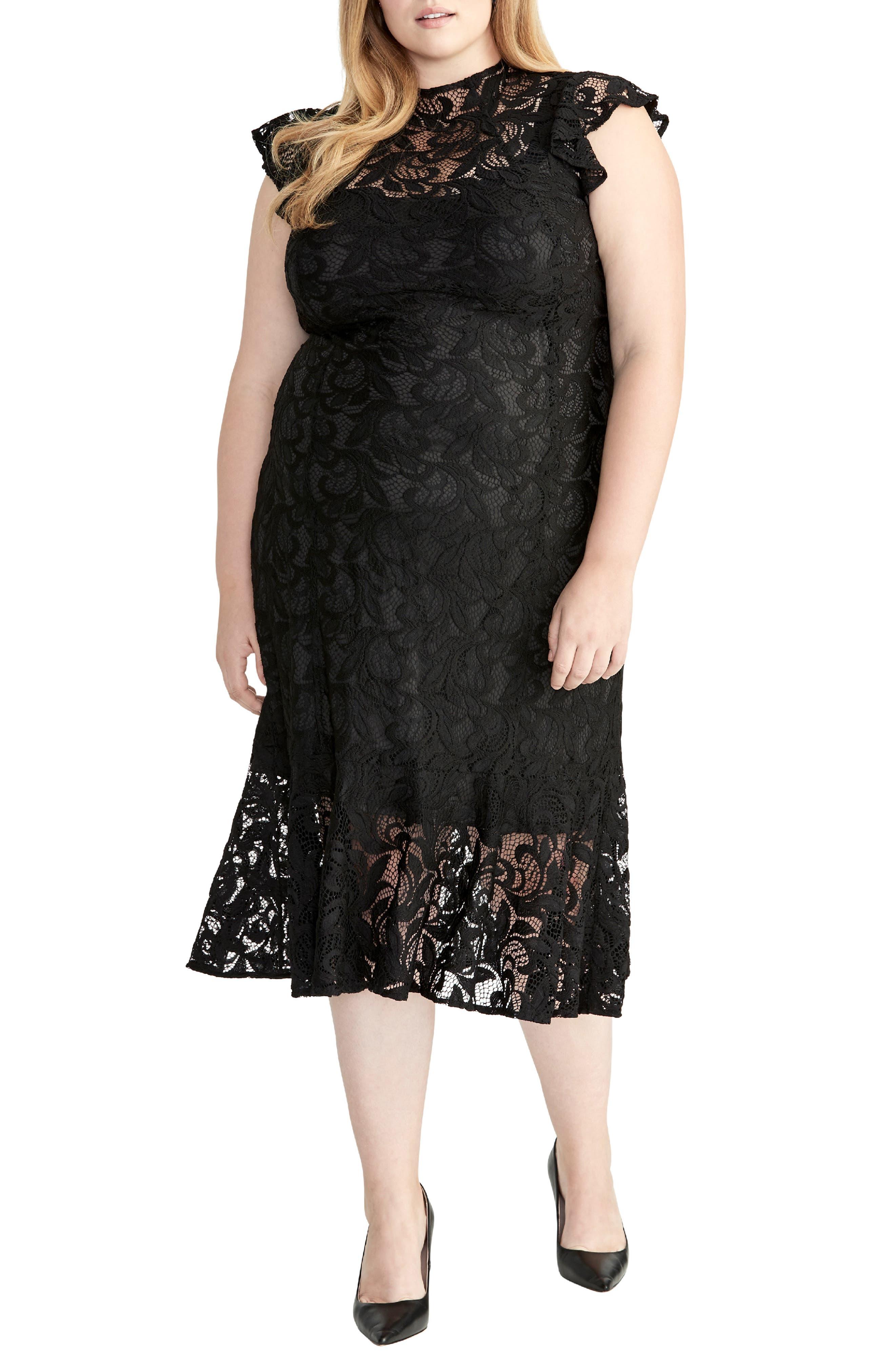 Plus Size Rachel Rachel Roy Flounced Lace Midi Dress, Black
