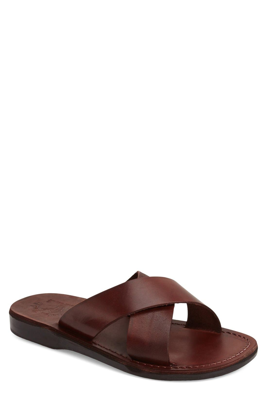 JERUSALEM SANDALS, 'Elan' Slide Sandal, Main thumbnail 1, color, BROWN LEATHER