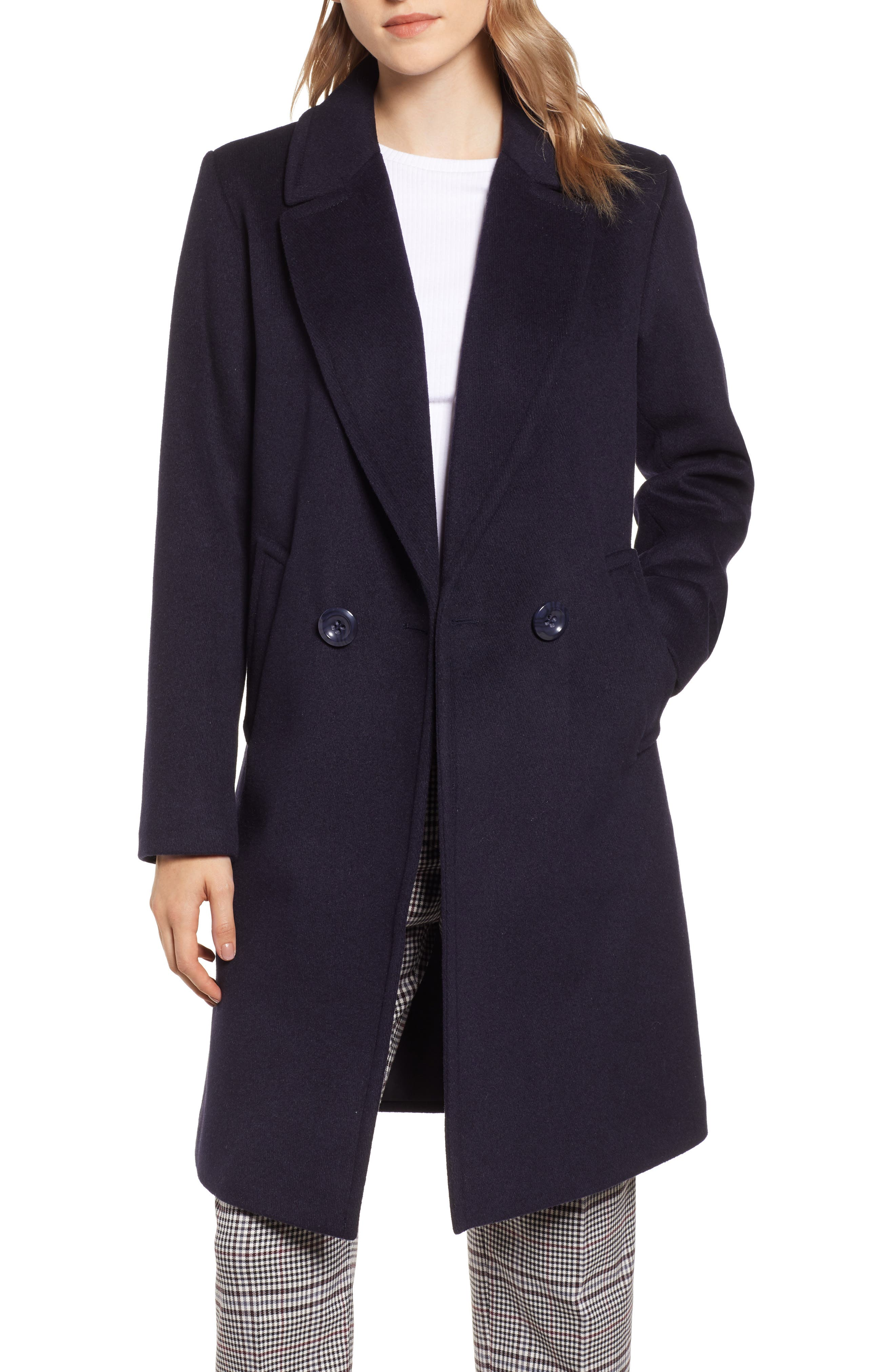 RACHEL RACHEL ROY Double Breasted Wool Blend Coat, Main, color, 410