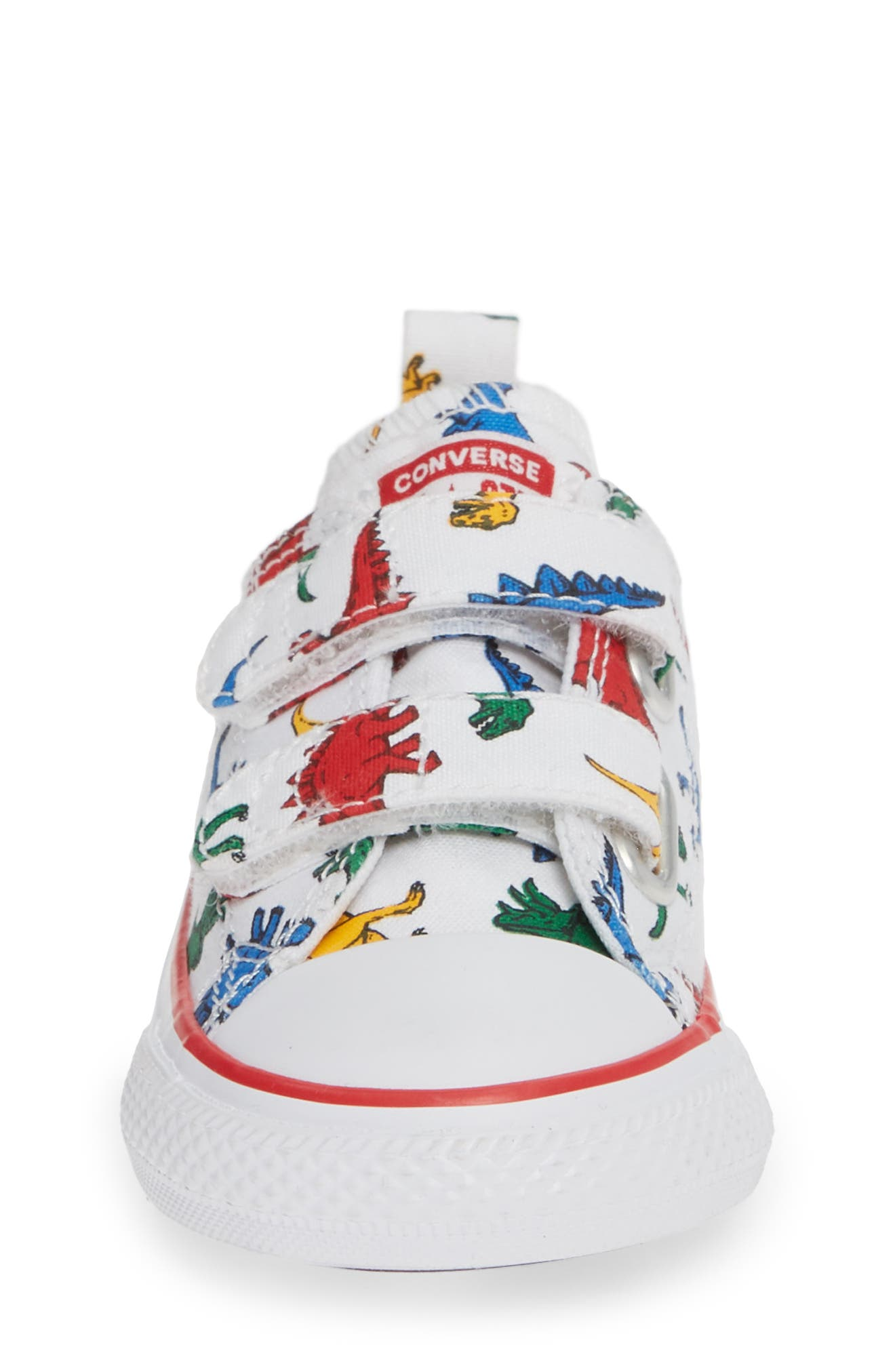 CONVERSE, Chuck Taylor<sup>®</sup> All Star<sup>®</sup> Ox Sneaker, Alternate thumbnail 4, color, WHITE/ ENAMEL RED/ BLUE DINO