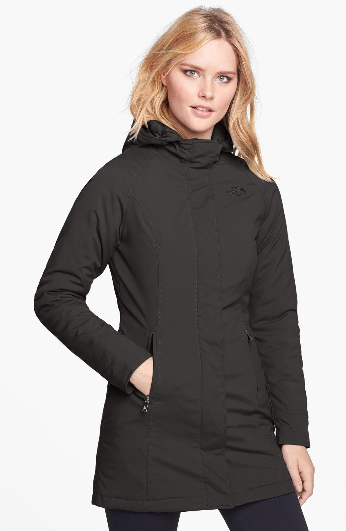 THE NORTH FACE, 'Lola' Soft Shell Trench Coat, Main thumbnail 1, color, 001