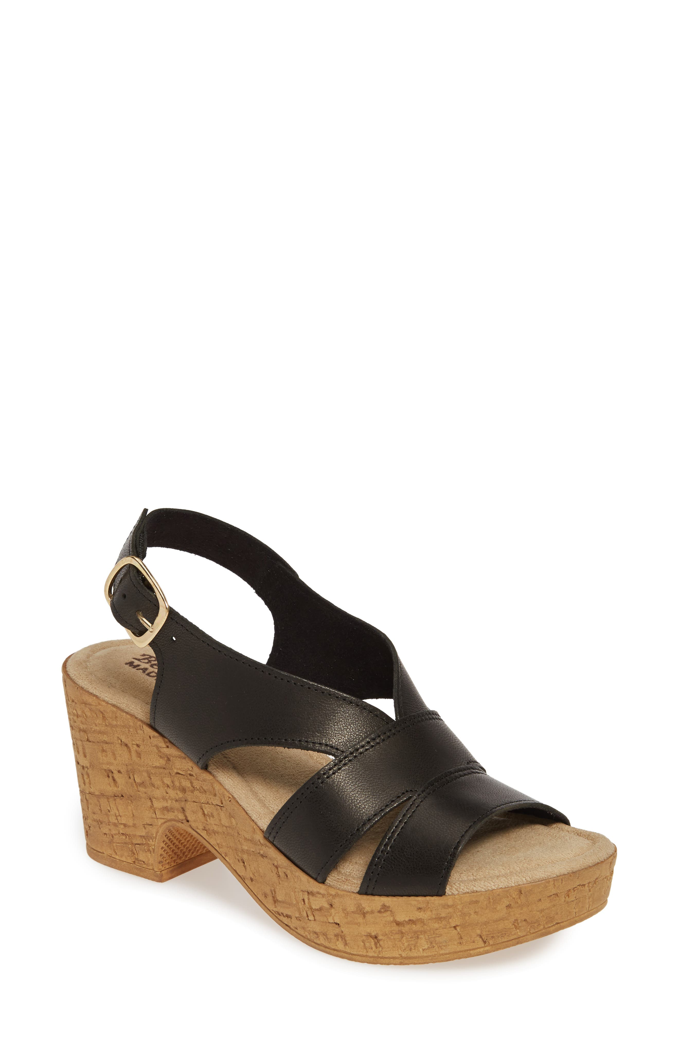 BELLA VITA, Jaz Platform Sandal, Main thumbnail 1, color, BLACK ITALIAN LEATHER