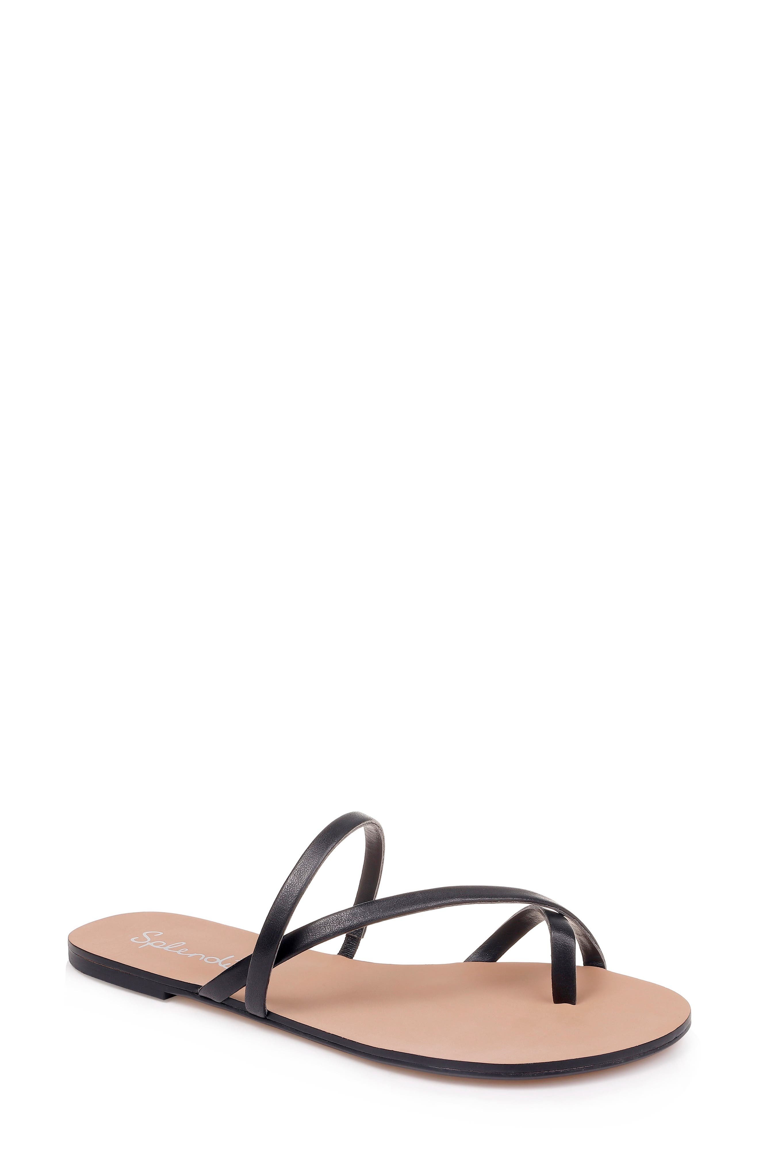 SPLENDID, Trenton Strappy Slide Sandal, Main thumbnail 1, color, BLACK LEATHER