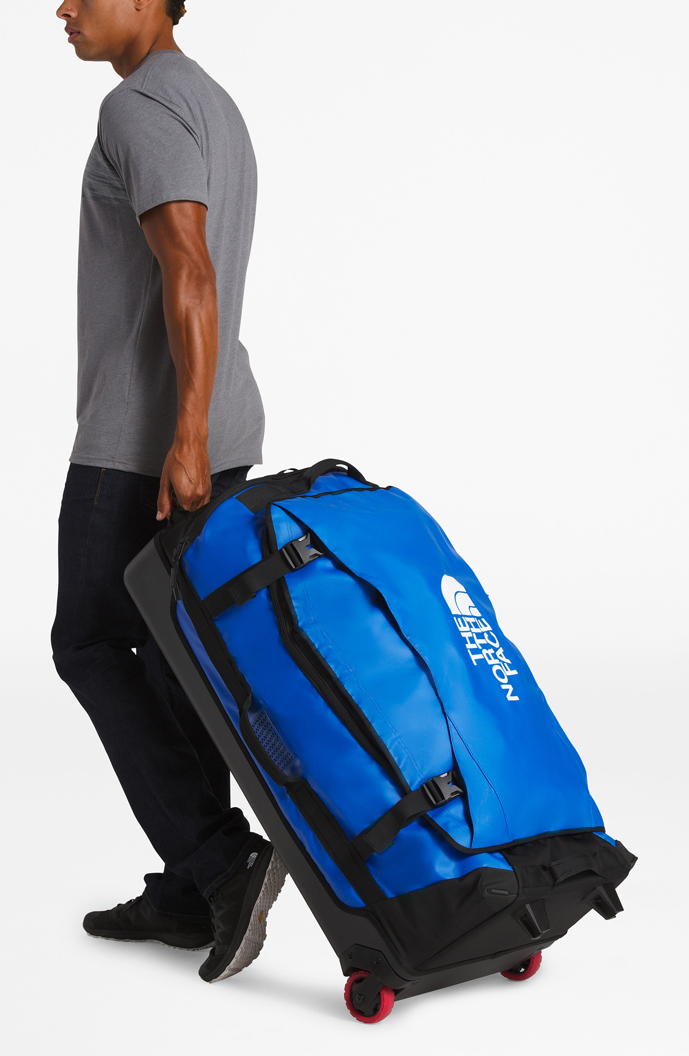 THE NORTH FACE, Rolling Thunder 36-Inch Wheeled Duffel Bag, Alternate thumbnail 2, color, BOMBER BLUE/ BLACK