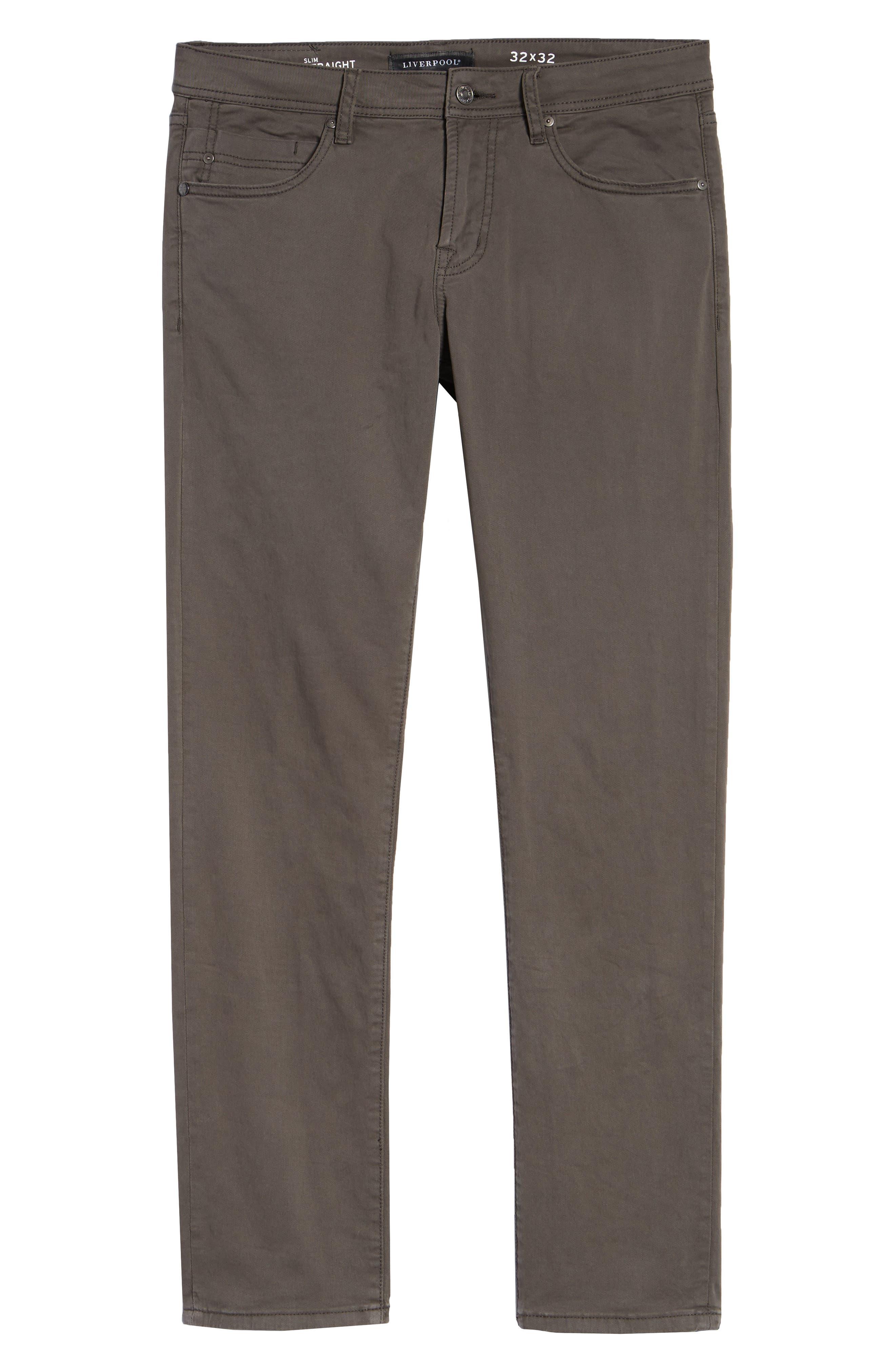 LIVERPOOL, Kingston Modern Straight Leg Twill Pants, Alternate thumbnail 6, color, OCEAN STORM
