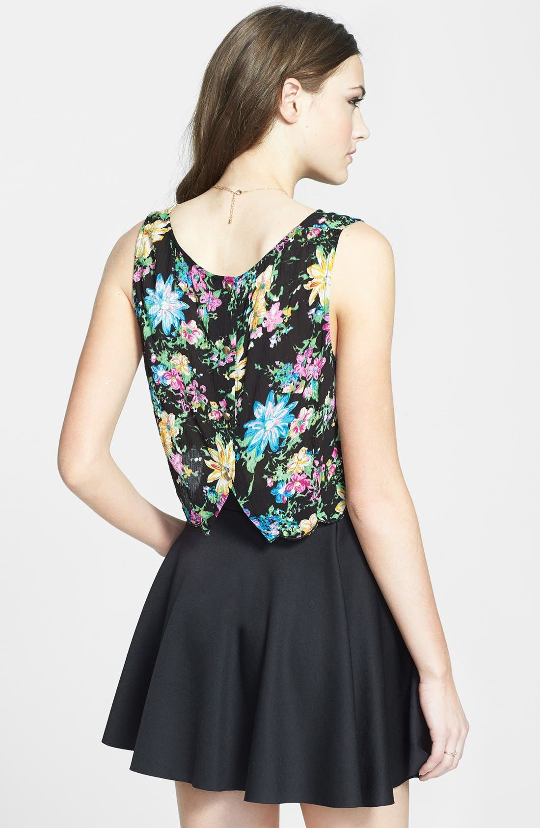 ---, Scalloped Floral Crop Top, Alternate thumbnail 3, color, 001
