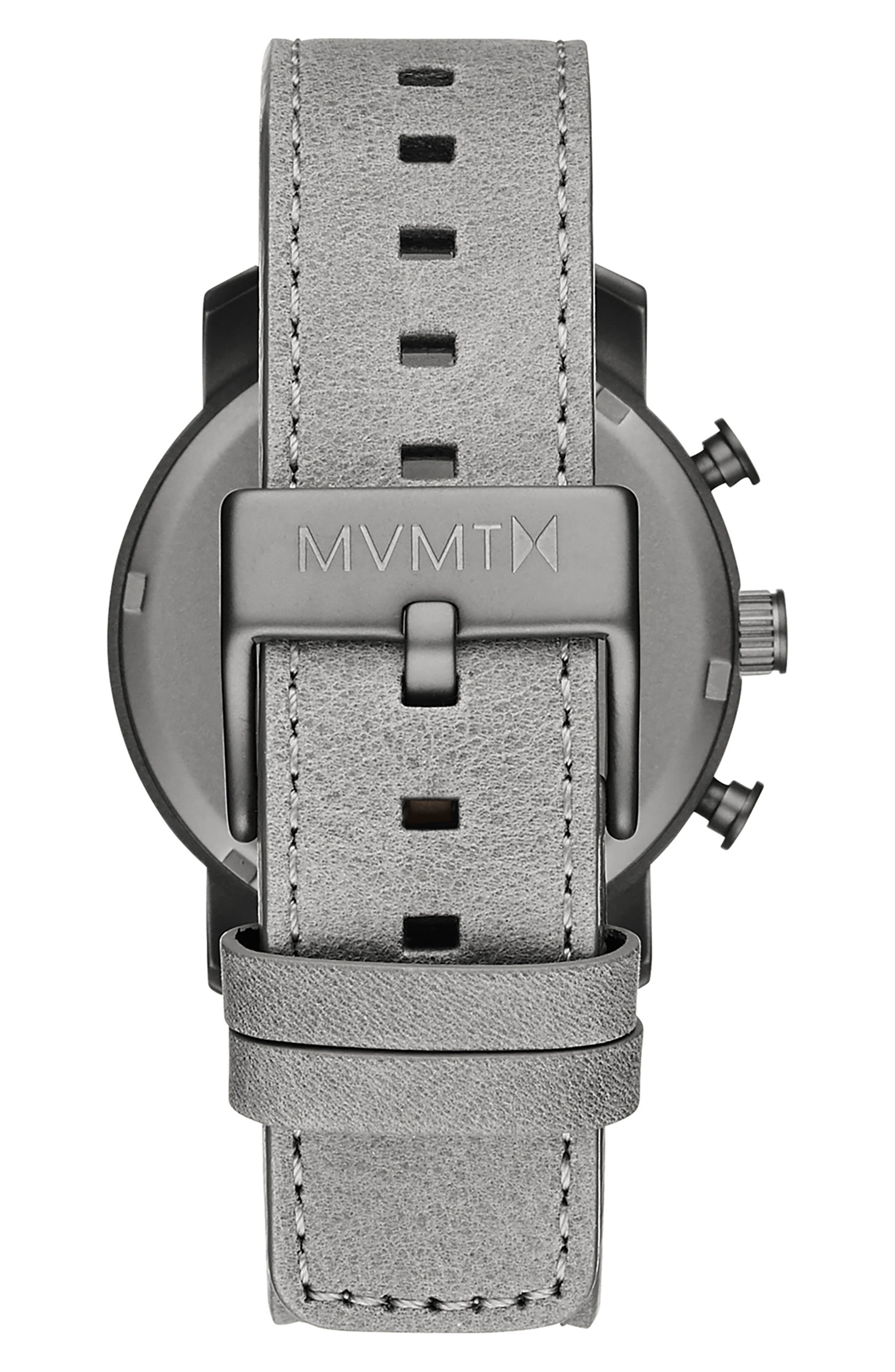 MVMT, Mono Chronograph Leather Strap Watch, 40mm, Alternate thumbnail 3, color, GREY/ SILVER