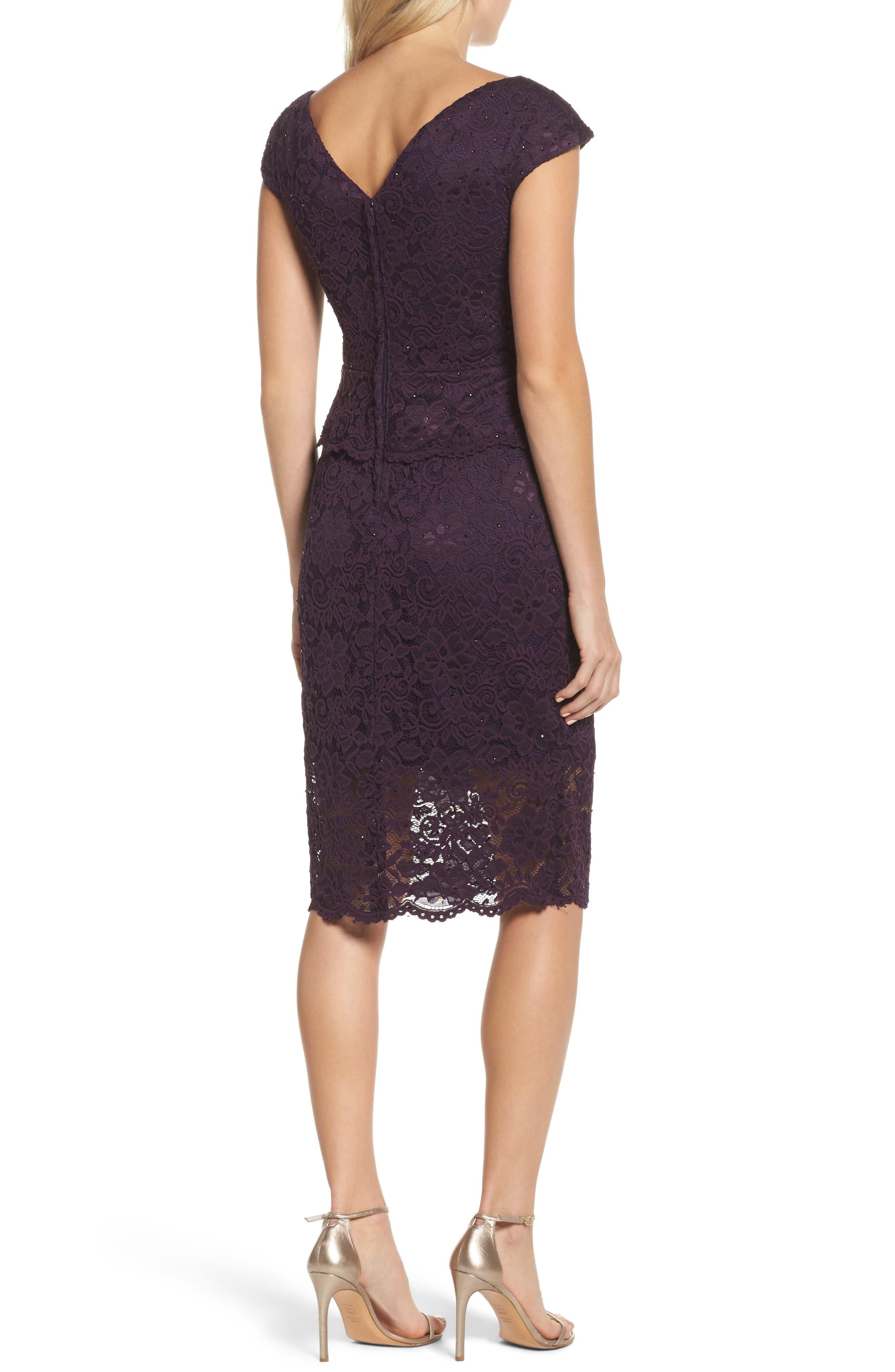 LA FEMME, Embellished Lace Sheath Dress, Alternate thumbnail 2, color, 501