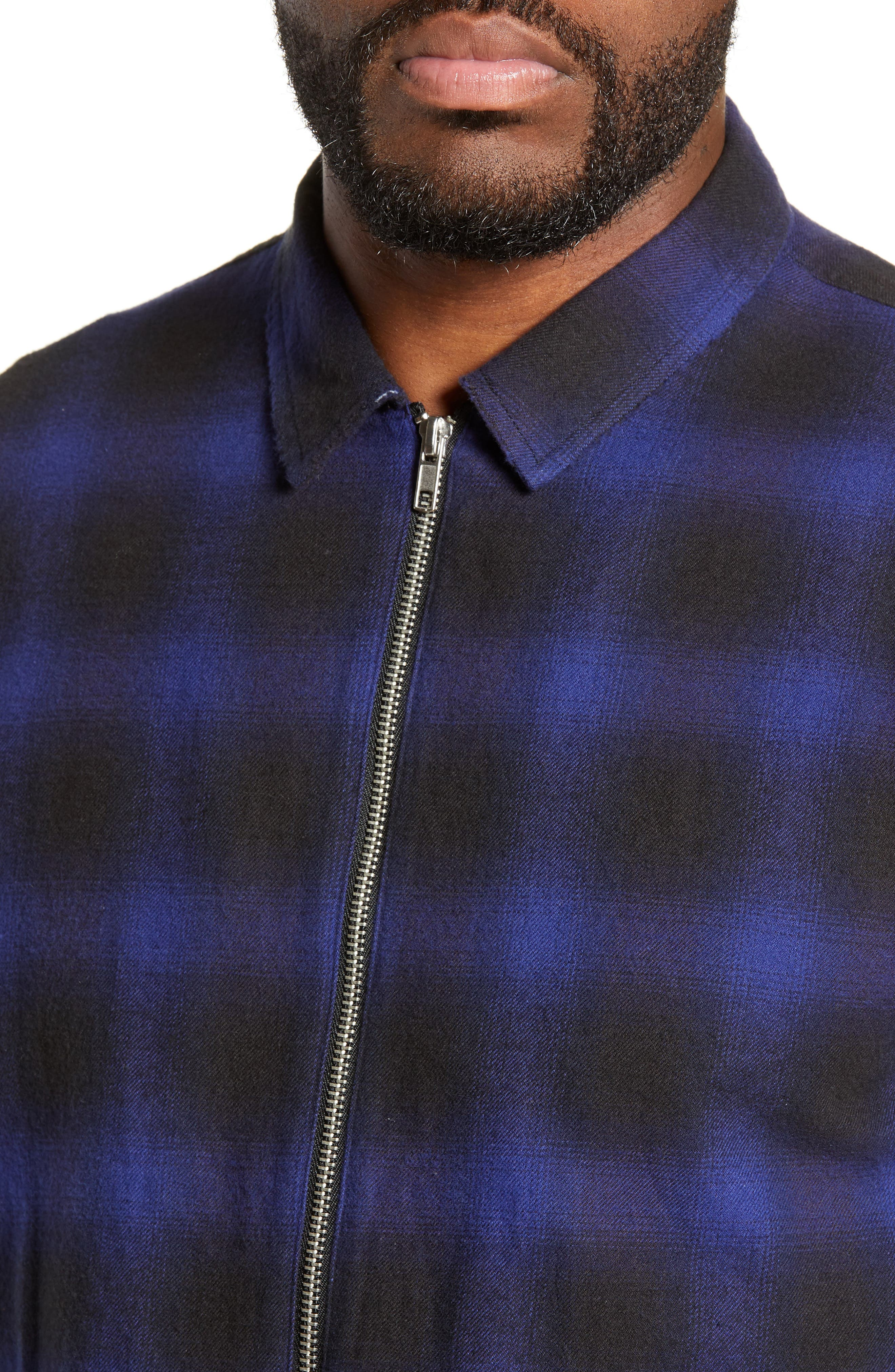 THE KOOPLES, Zip Flannel Jacket, Alternate thumbnail 4, color, BLUE BLACK