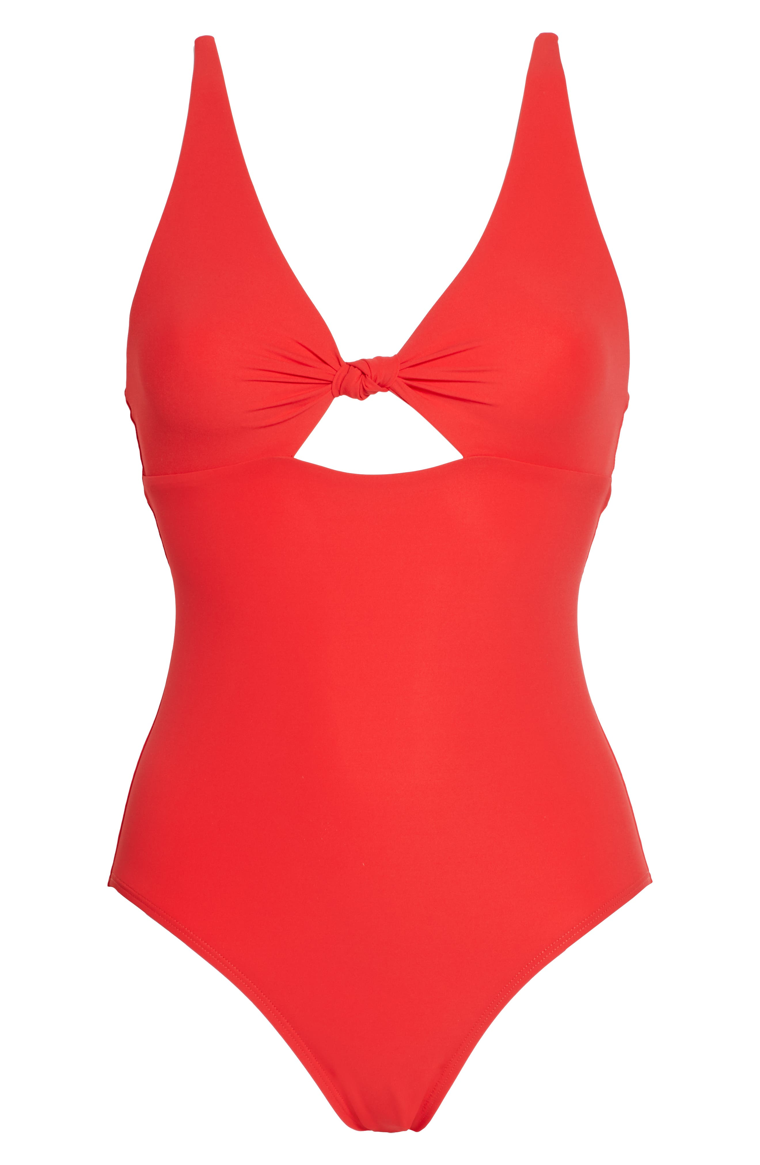 TORY BURCH, Palma One-Piece Swimsuit, Alternate thumbnail 7, color, POPPY RED