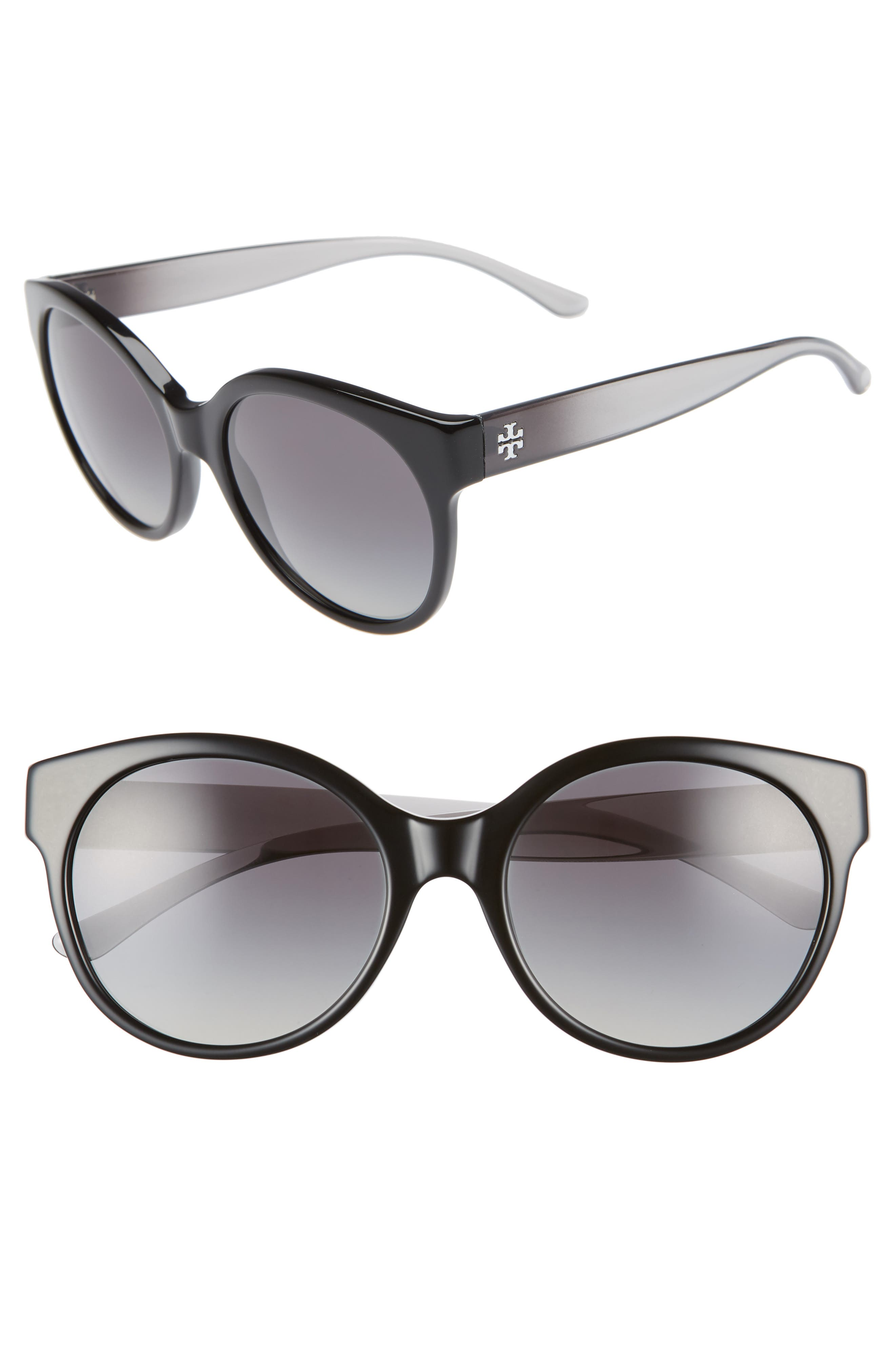 TORY BURCH, Stacked T 55mm Round Sunglasses, Main thumbnail 1, color, BLACK GRADIENT