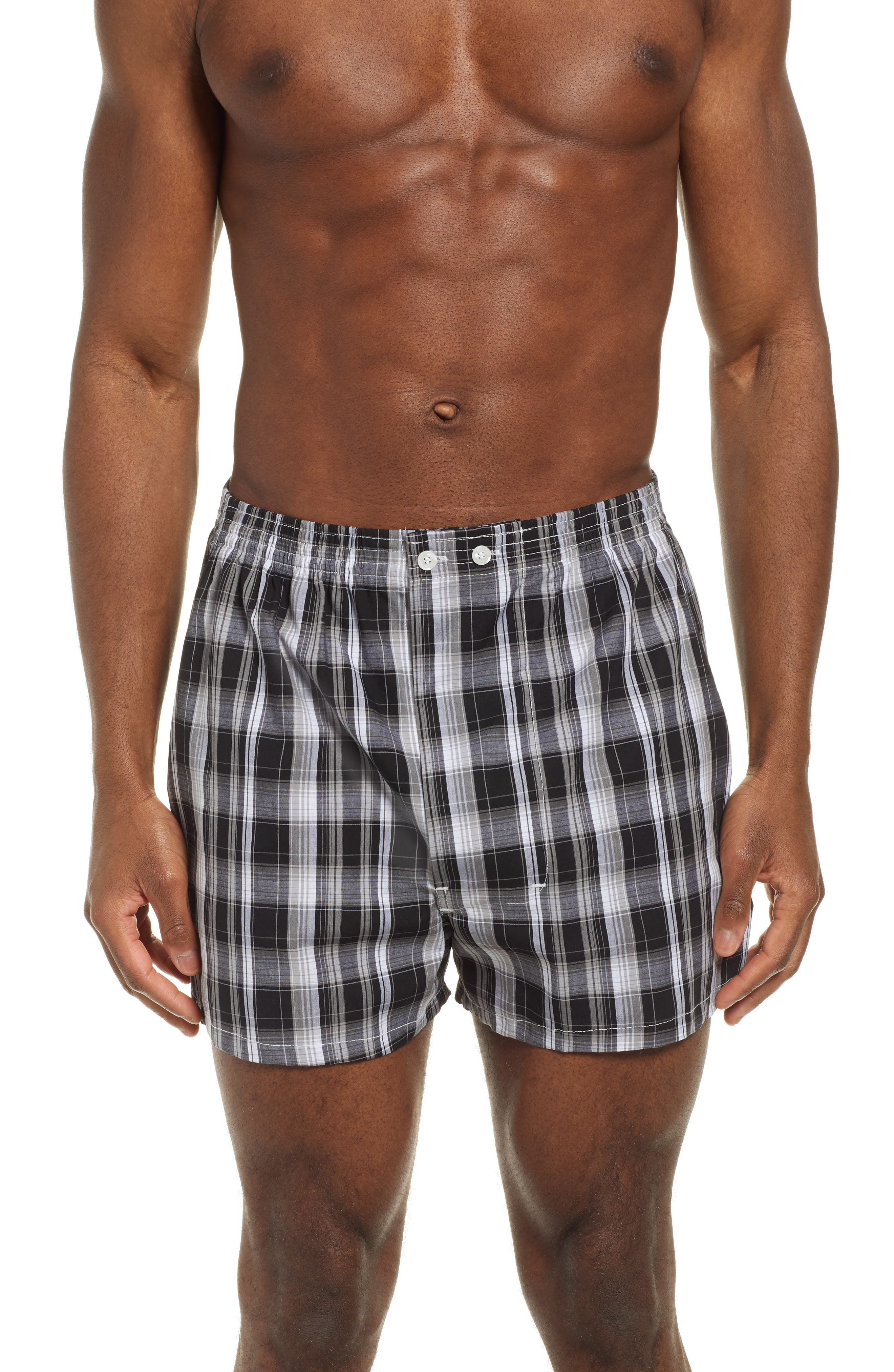 NORDSTROM MEN'S SHOP, 3-Pack Classic Fit Boxers, Alternate thumbnail 2, color, BLACK- WHITE PLAID PACK