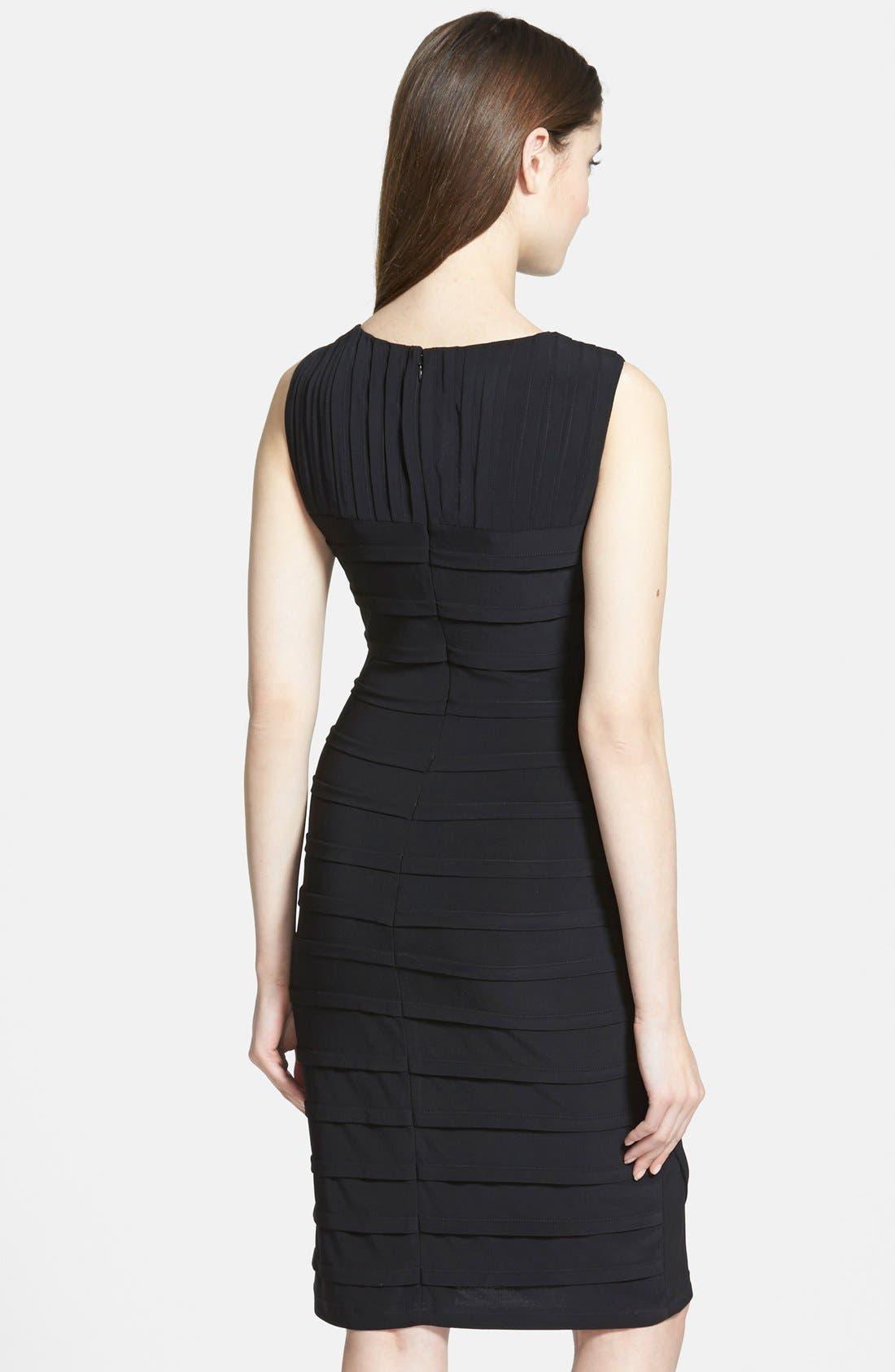 ADRIANNA PAPELL, V-Neck Shutter Pleat Sheath Dress, Alternate thumbnail 6, color, 001