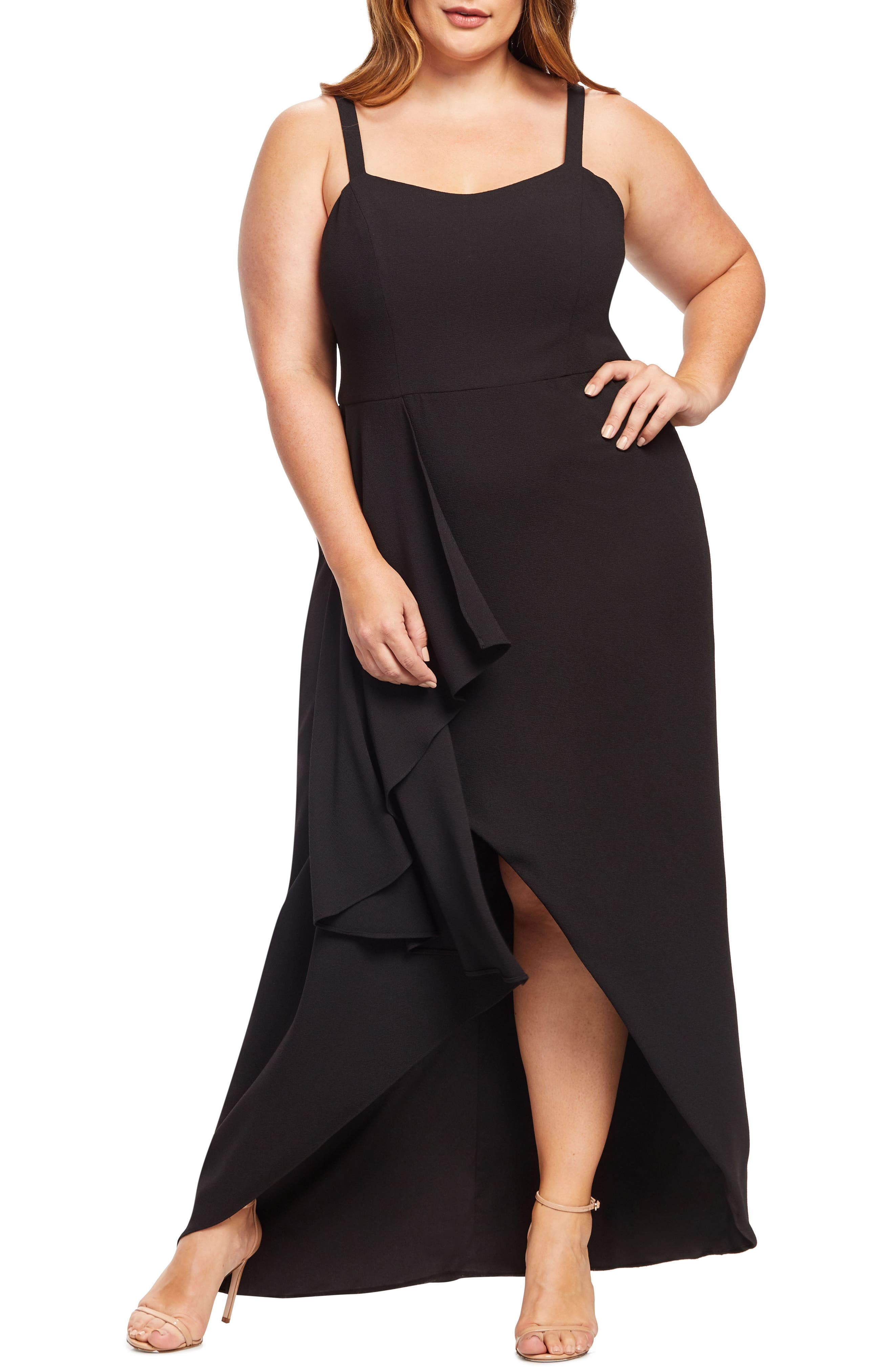 Plus Size Dress The Population Cora Sleeveless Waterfall Crepe Gown