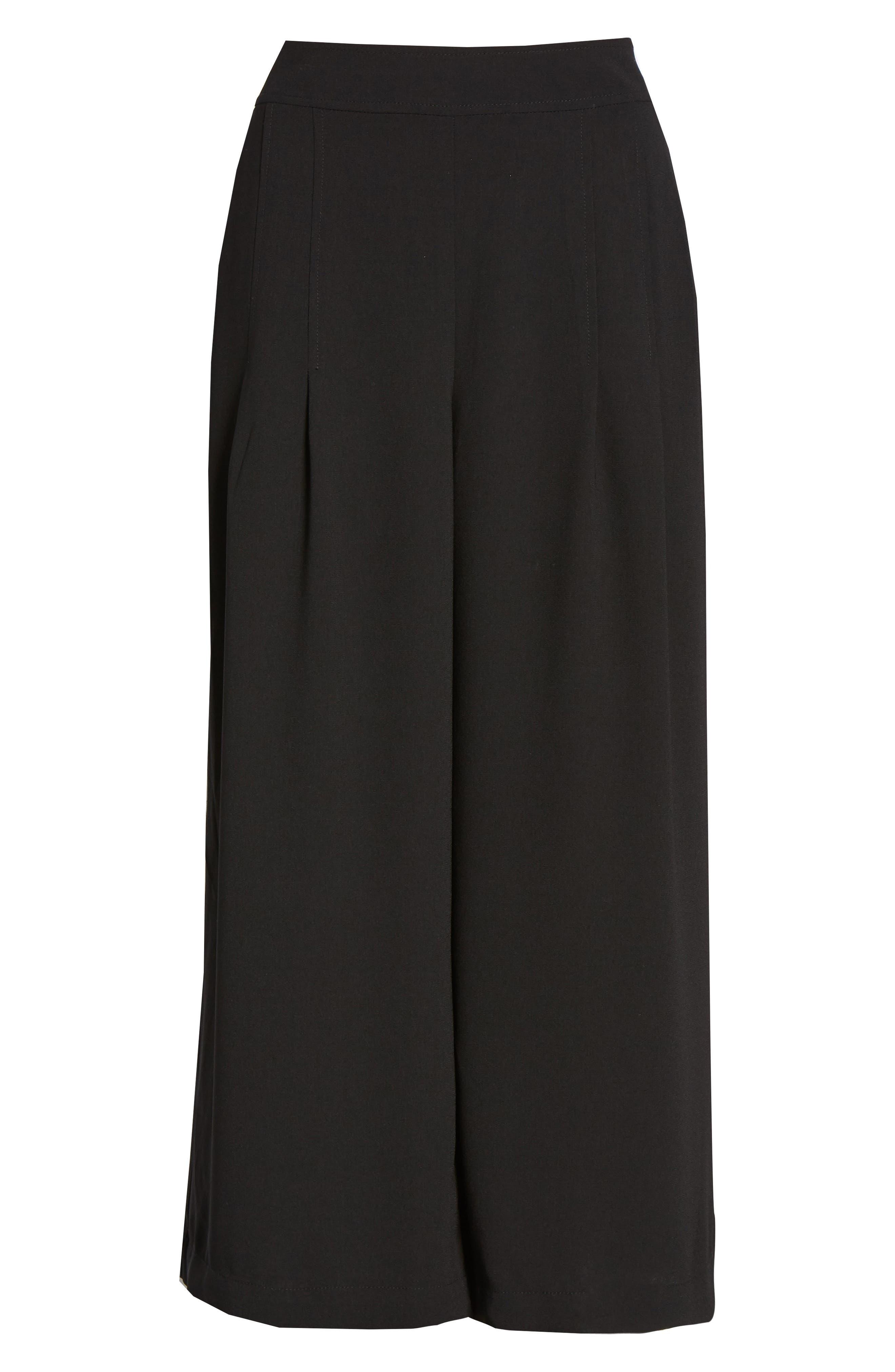 BP., High Waist Soft Wide Leg Crop Pants, Alternate thumbnail 8, color, BLACK