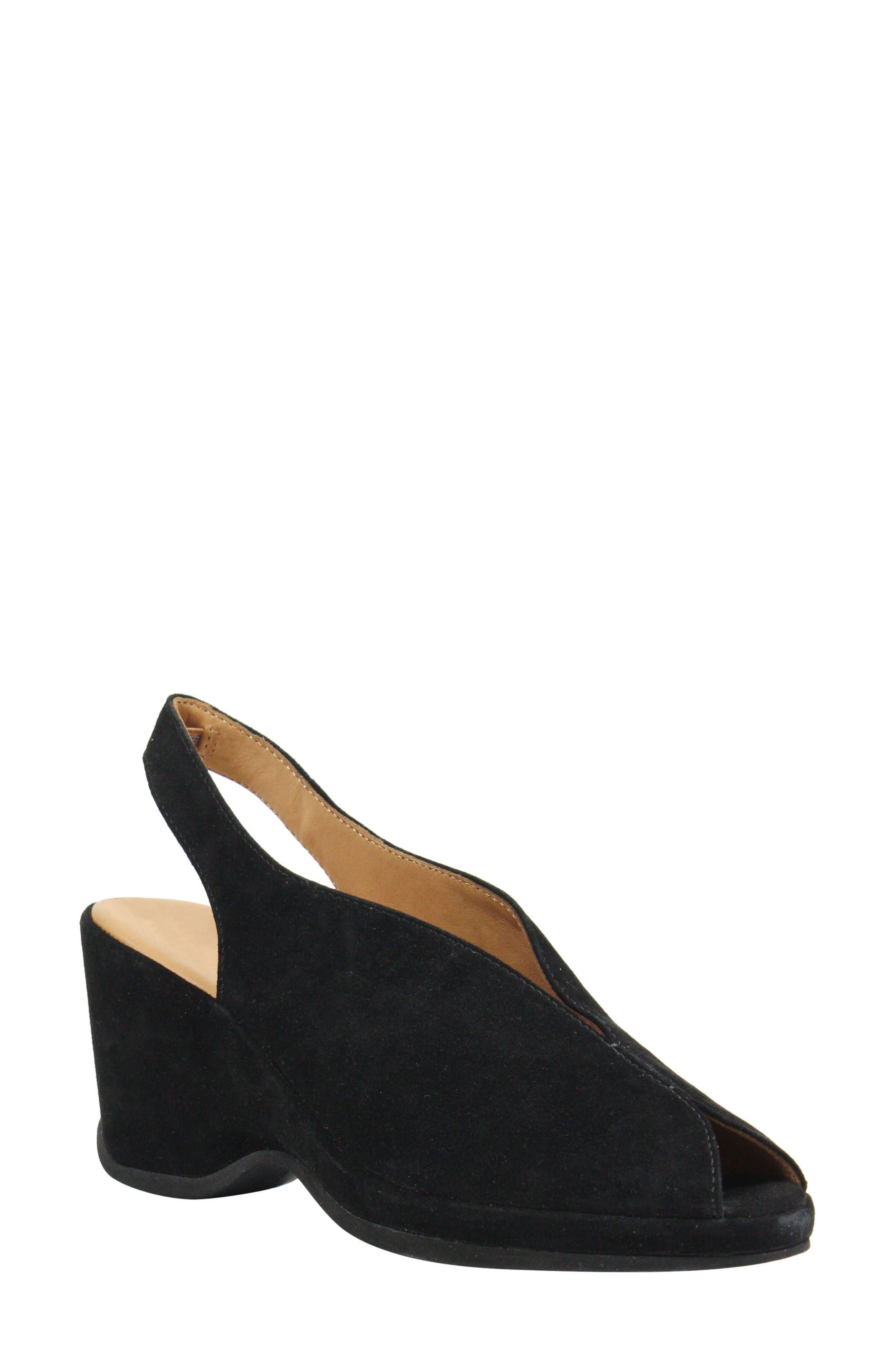 L'AMOUR DES PIEDS, Odetta Slingback Wedge, Main thumbnail 1, color, BLACK SUEDE