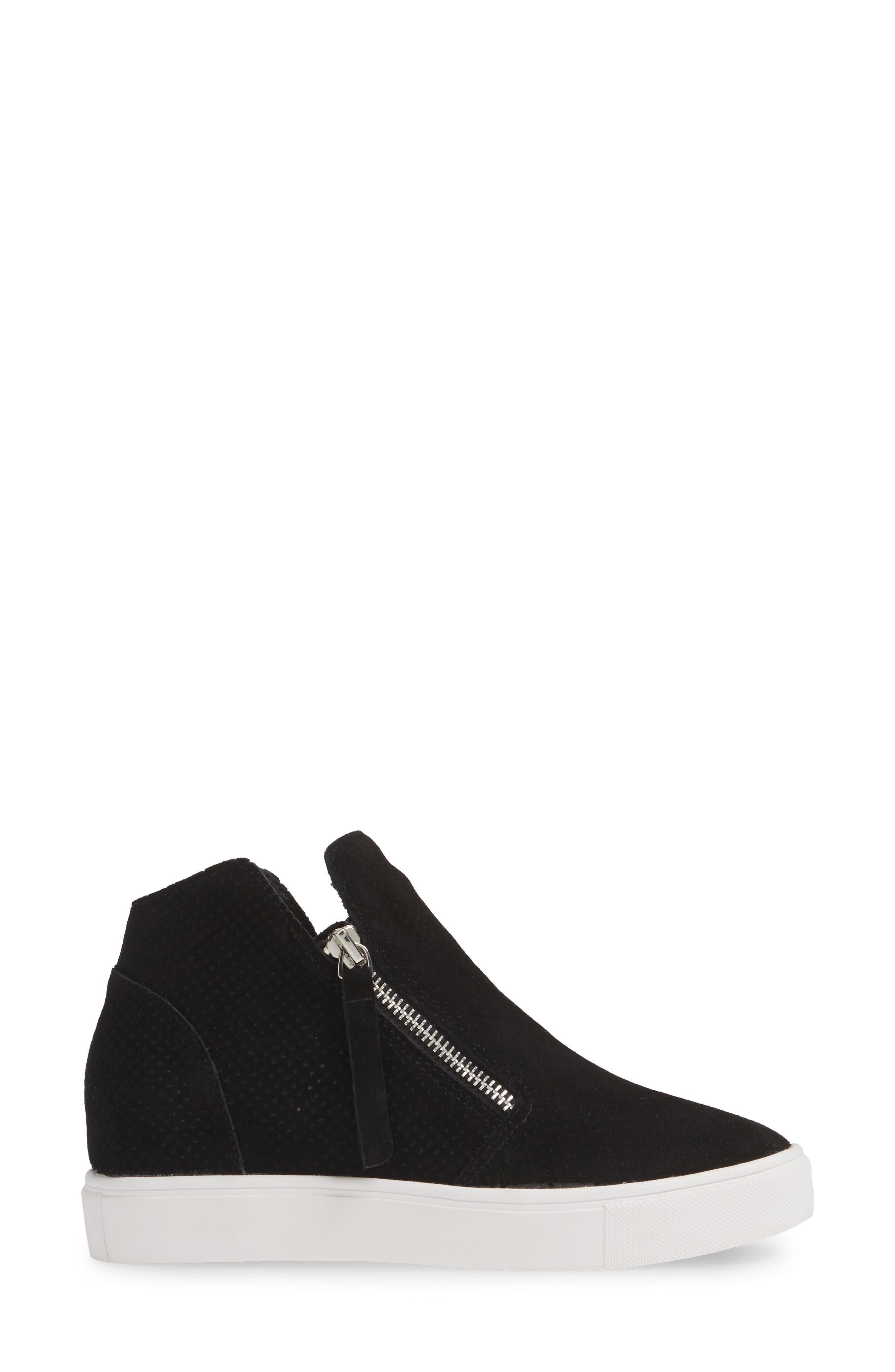 STEVE MADDEN, Caliber High Top Sneaker, Alternate thumbnail 3, color, BLACK SUEDE
