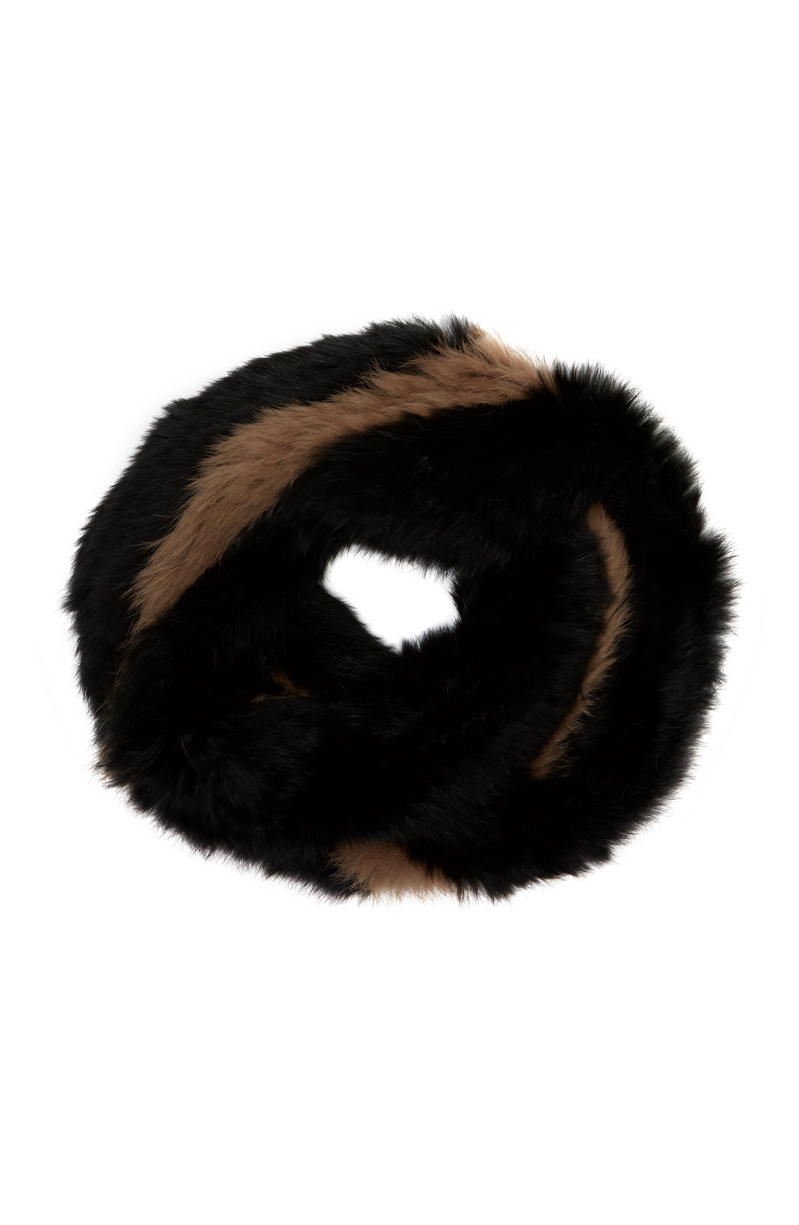 LOVE TOKEN, Genuine Rabbit Fur Infinity Scarf, Alternate thumbnail 2, color, 001