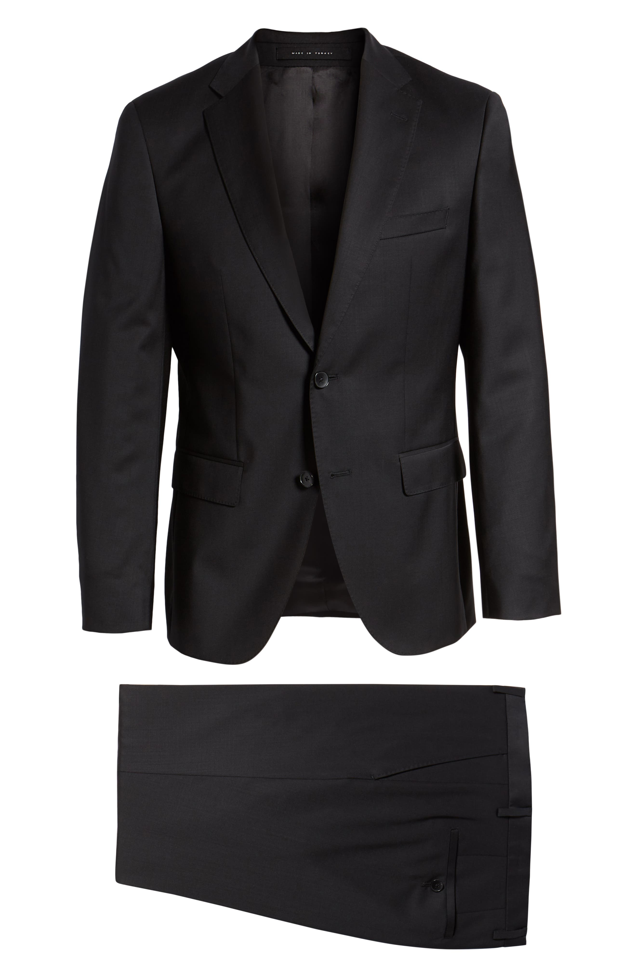 BOSS, Johnstons/Lenon Classic Fit Solid Wool Suit, Alternate thumbnail 8, color, BLACK