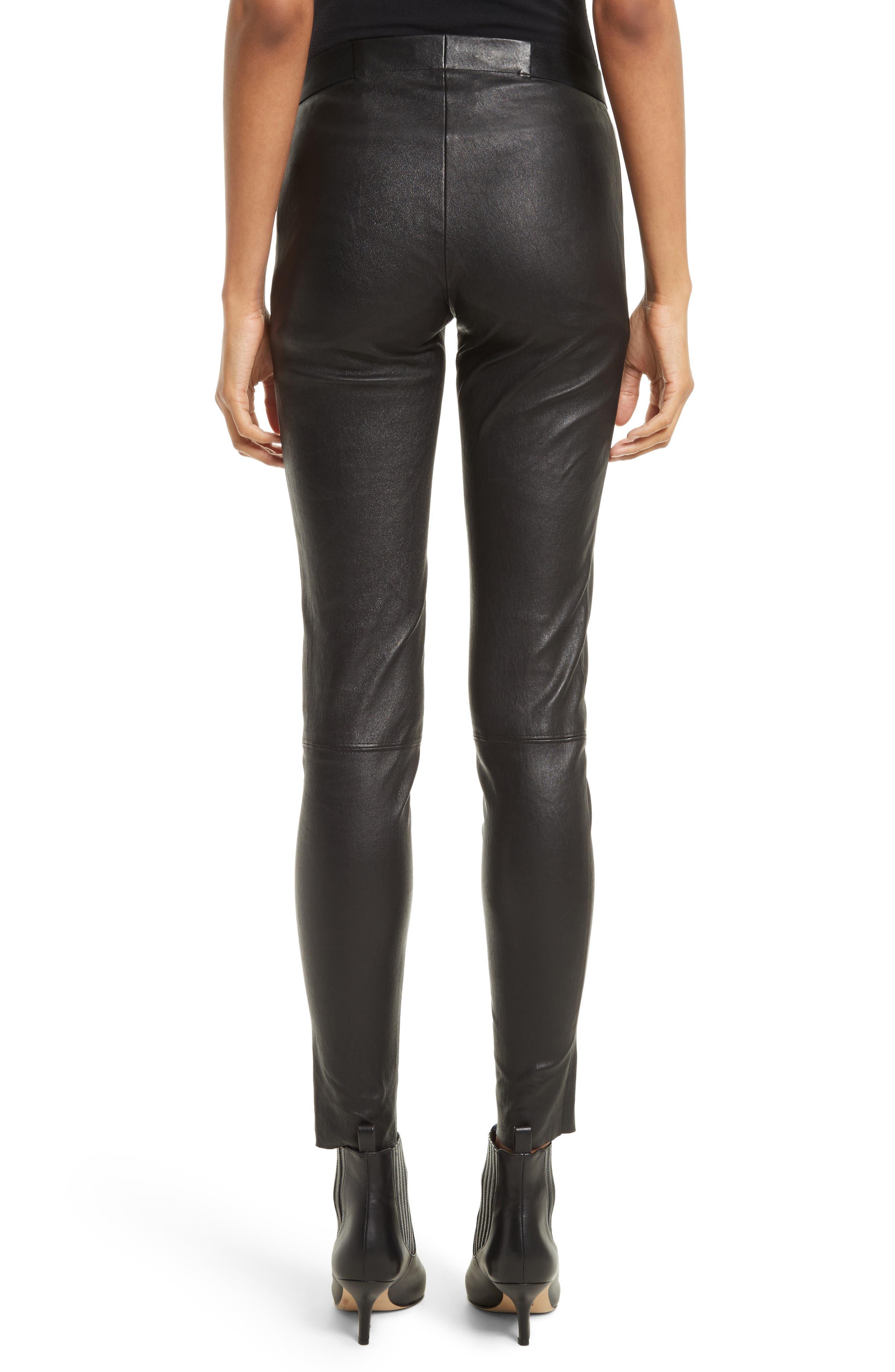 ALICE + OLIVIA, Leather Leggings, Alternate thumbnail 2, color, BLACK