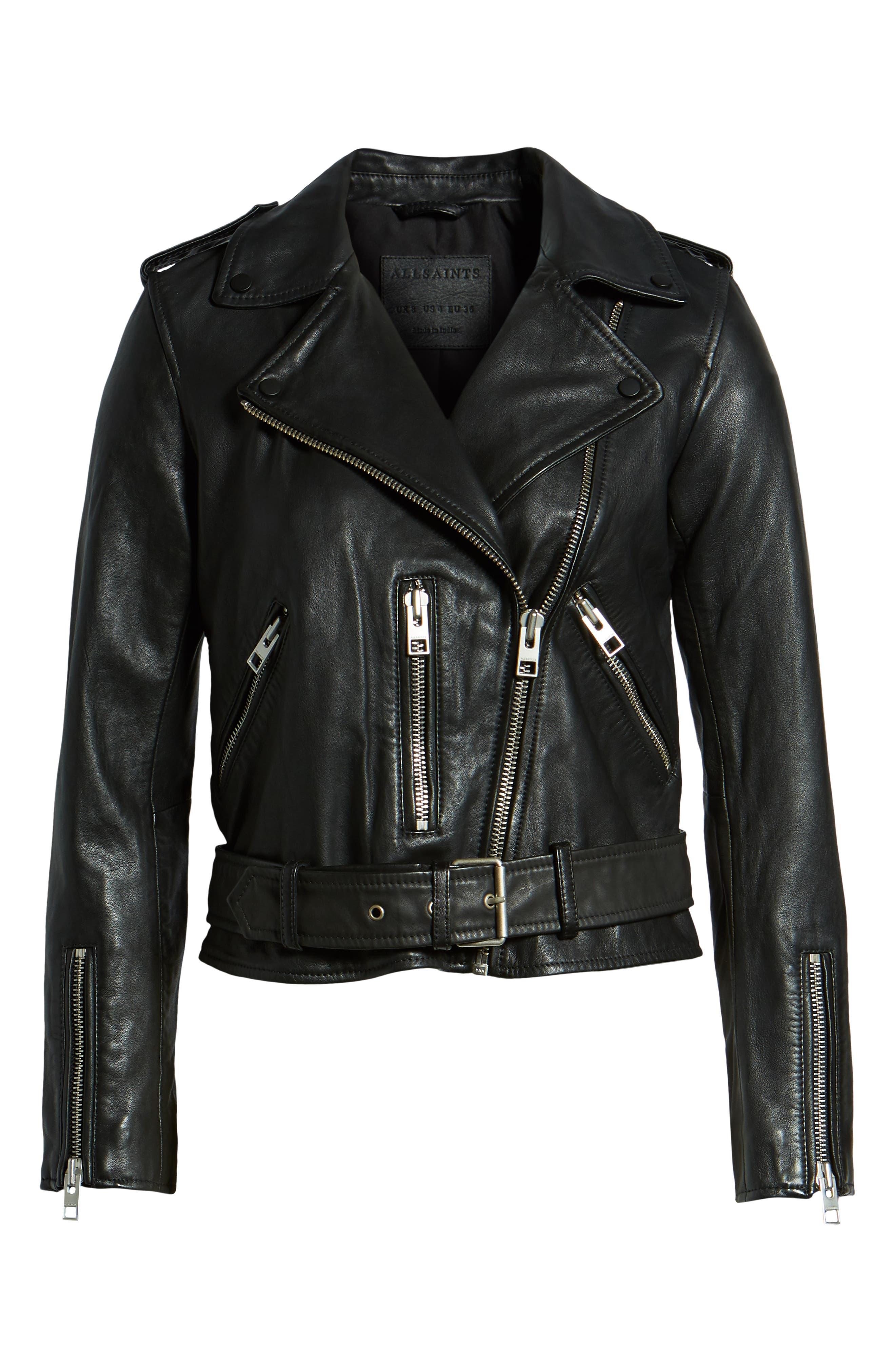 ALLSAINTS, Balfern Leather Biker Jacket, Alternate thumbnail 6, color, BLACK