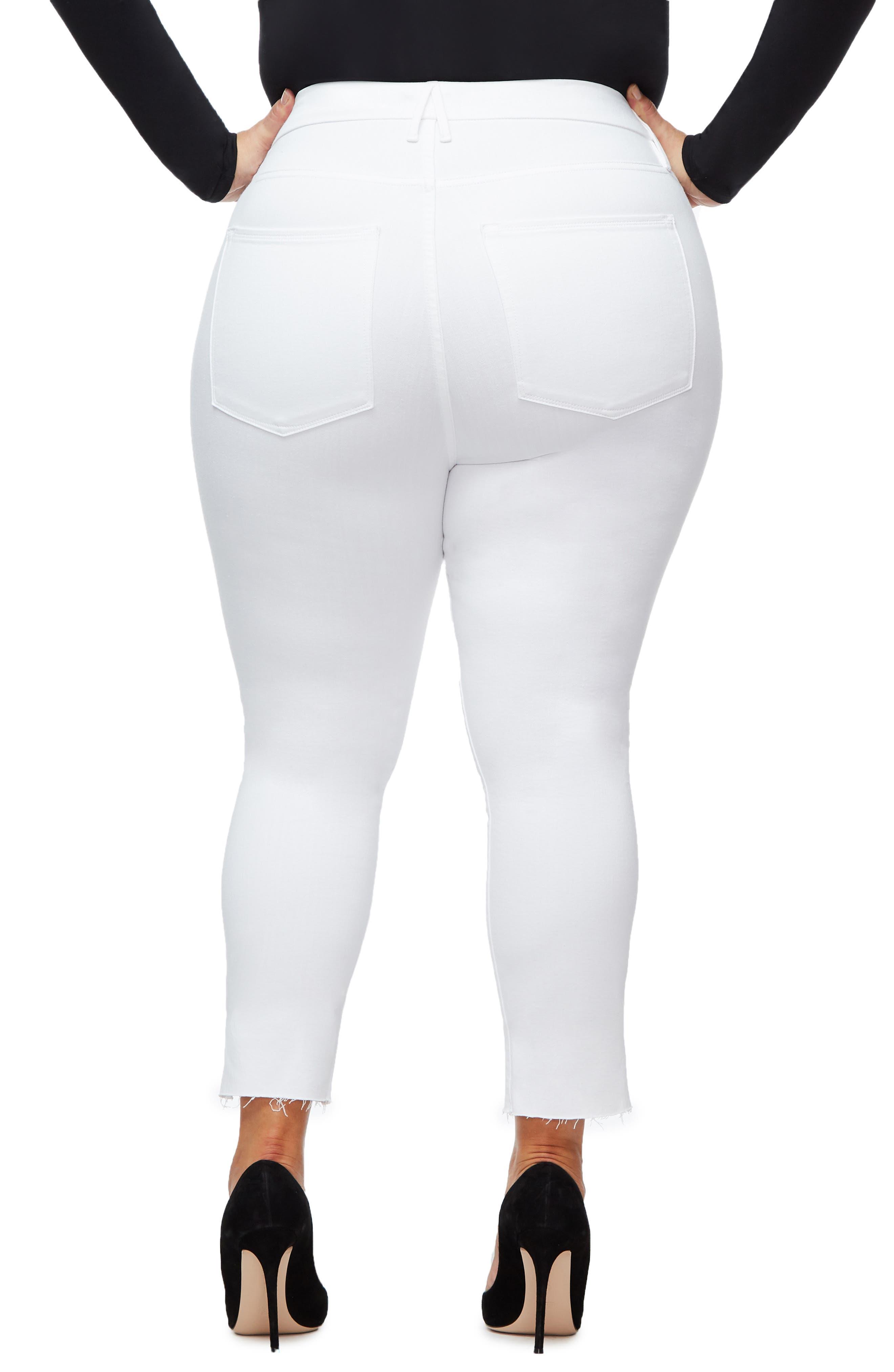 GOOD AMERICAN, Good Legs Cascade Hem Skinny Jeans, Alternate thumbnail 7, color, WHITE001