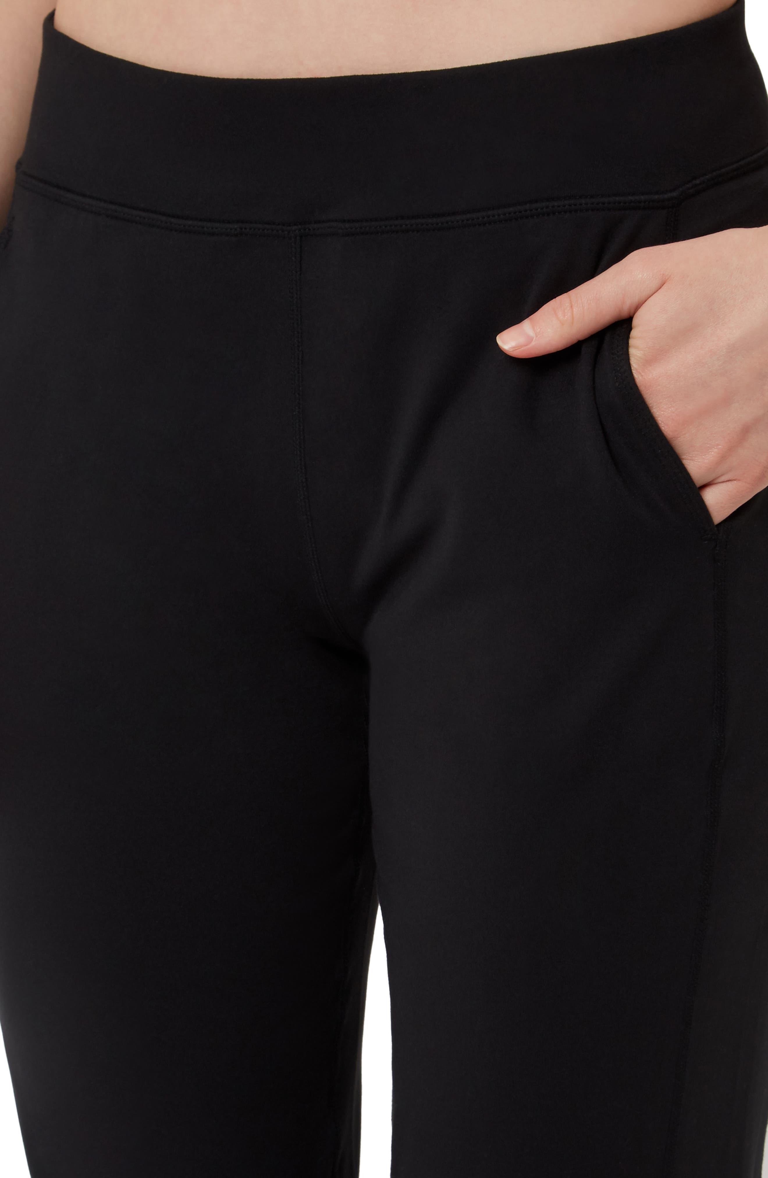SWEATY BETTY, Garudasana Crop Yoga Trousers, Alternate thumbnail 5, color, BLACK