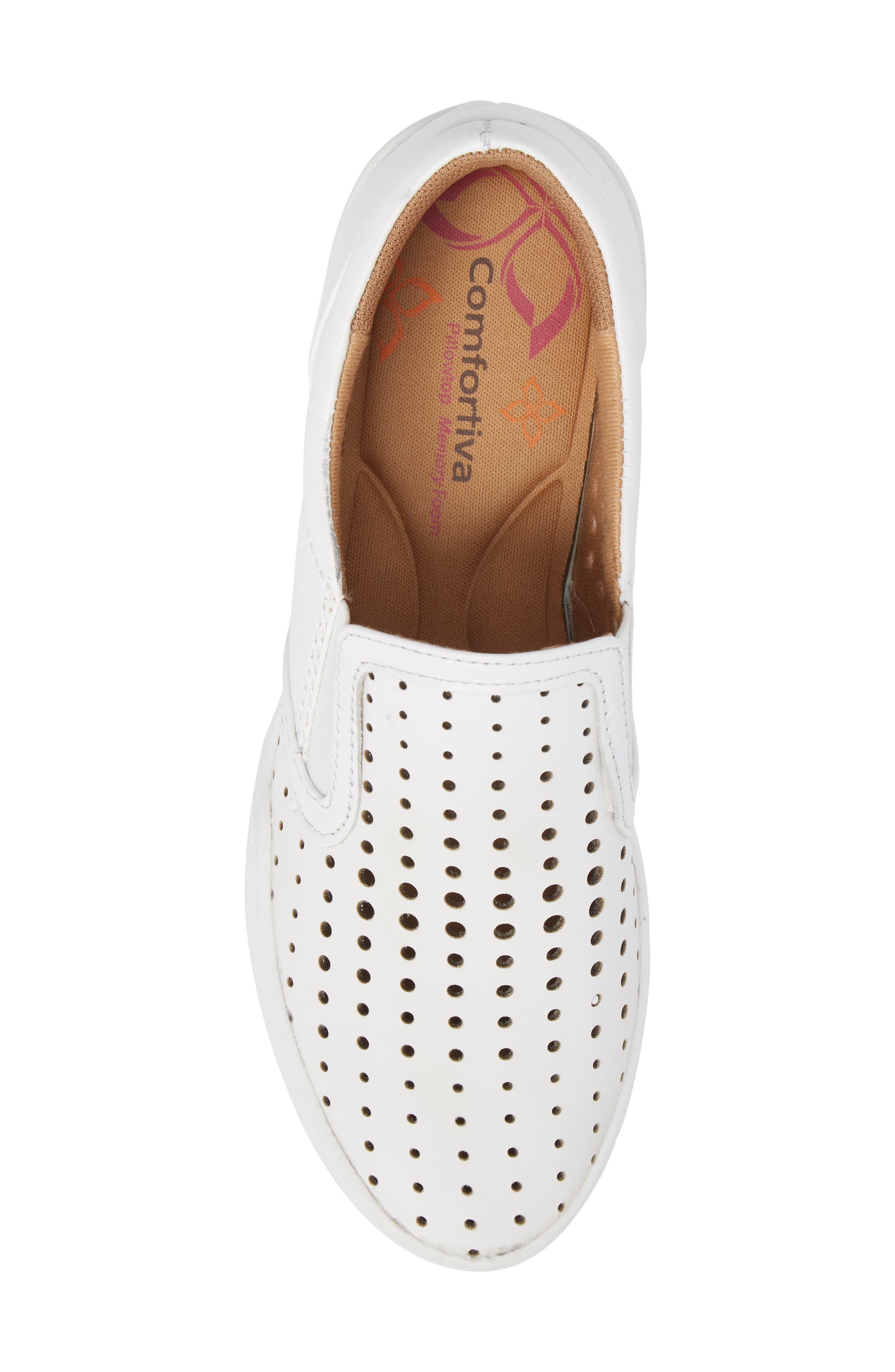 COMFORTIVA, Lyra Perforated Slip-On Sneaker, Alternate thumbnail 5, color, WHITE LEATHER